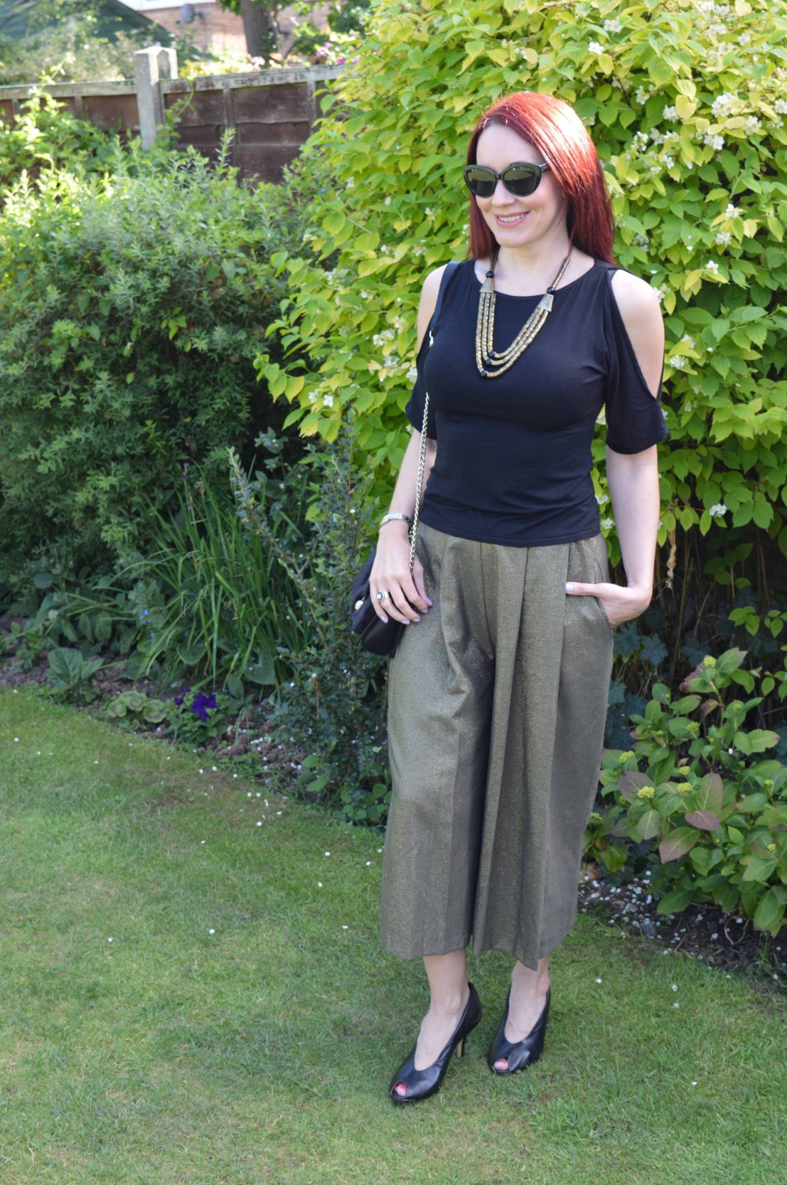 Zara khaki Metallic Culottes and cold shoulder top