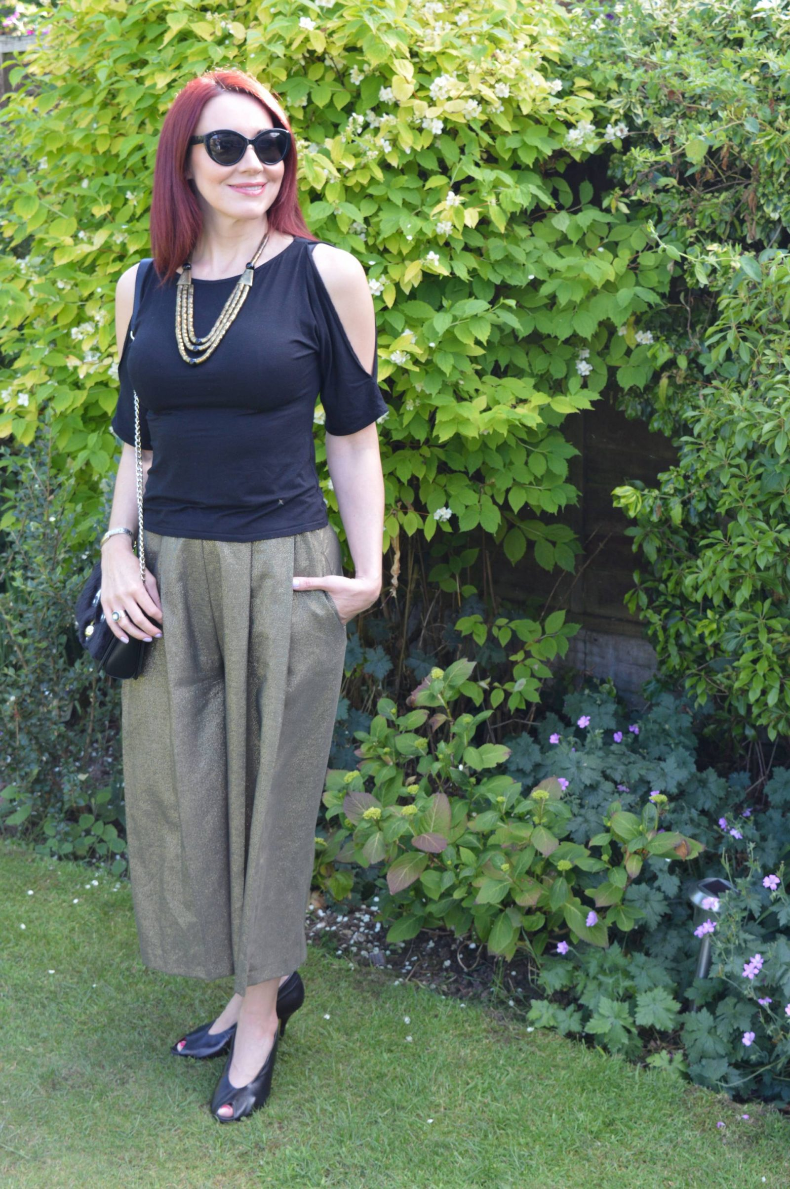Metallic Culottes and cold shoulder top