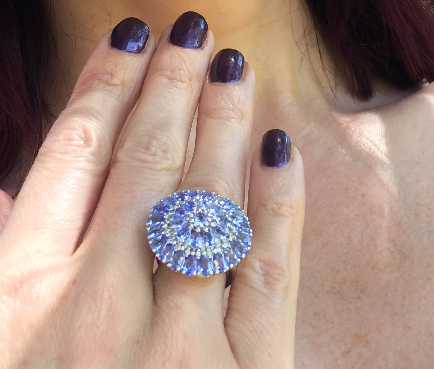 Celebrating National Selfie Day With a #Gemfie Gemporia tanzanite cluster ring