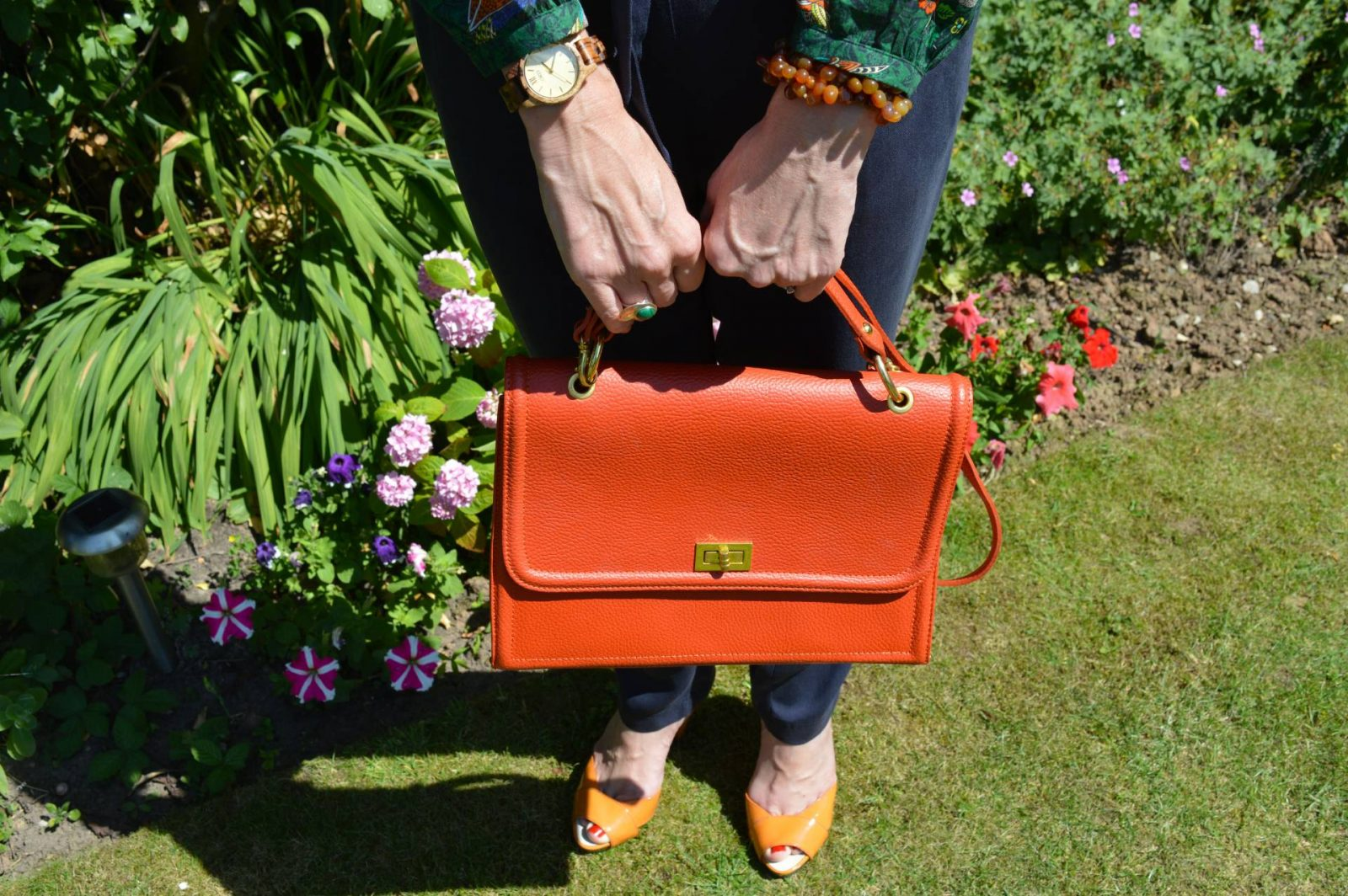 Laura Ashley Bird Print Blouse and Navy Trousers Jord wood watch orange Miss Sixty sandals