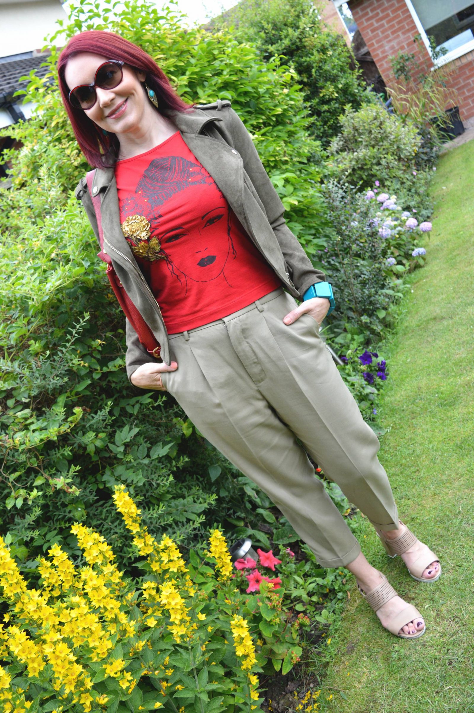 Shades of Khaki With Red Accents River Island khaki biker jacket Zara khaki trousers