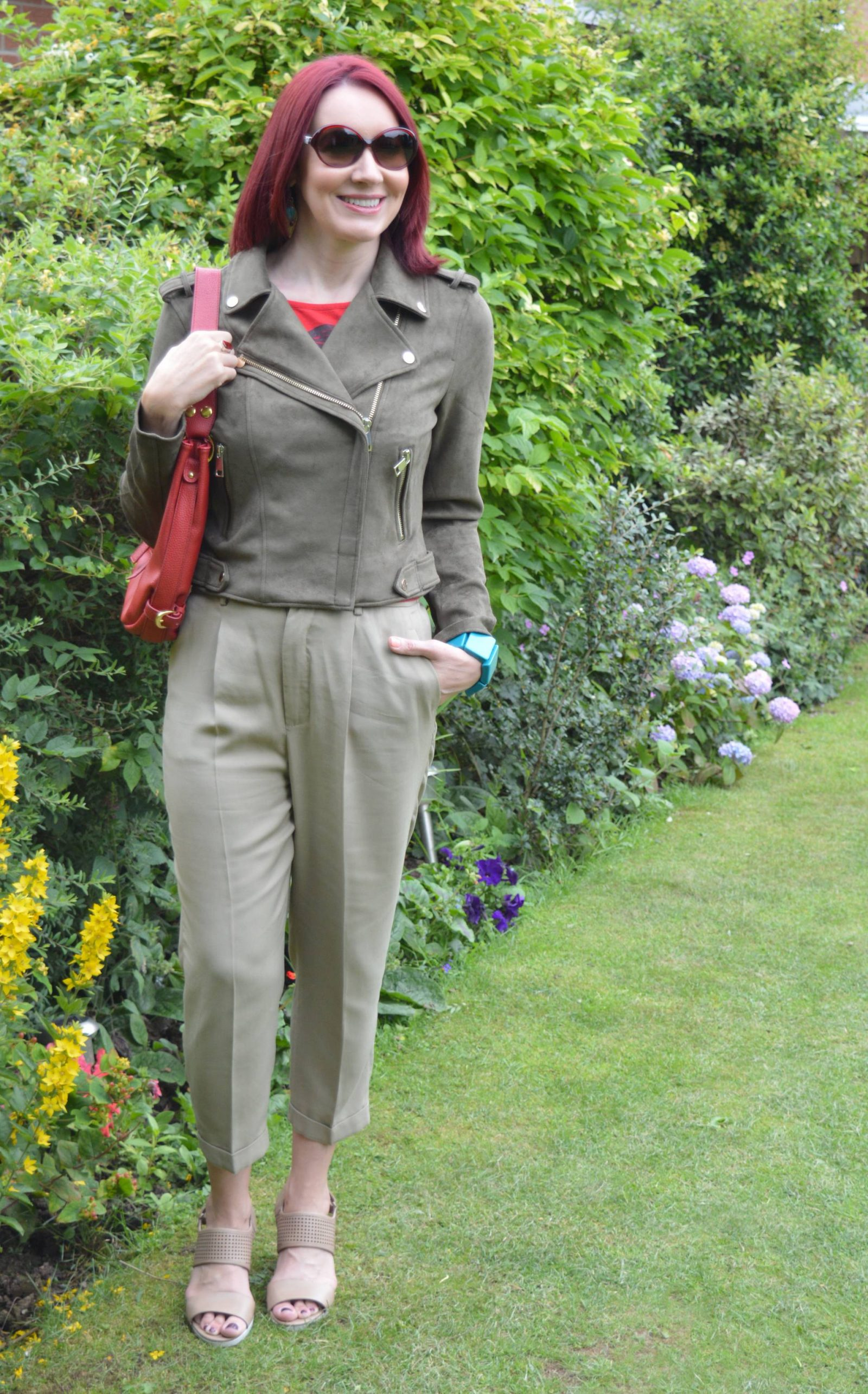 Shades of Khaki With Red Accents River Island khahi biker jacket Zara khaki trousers