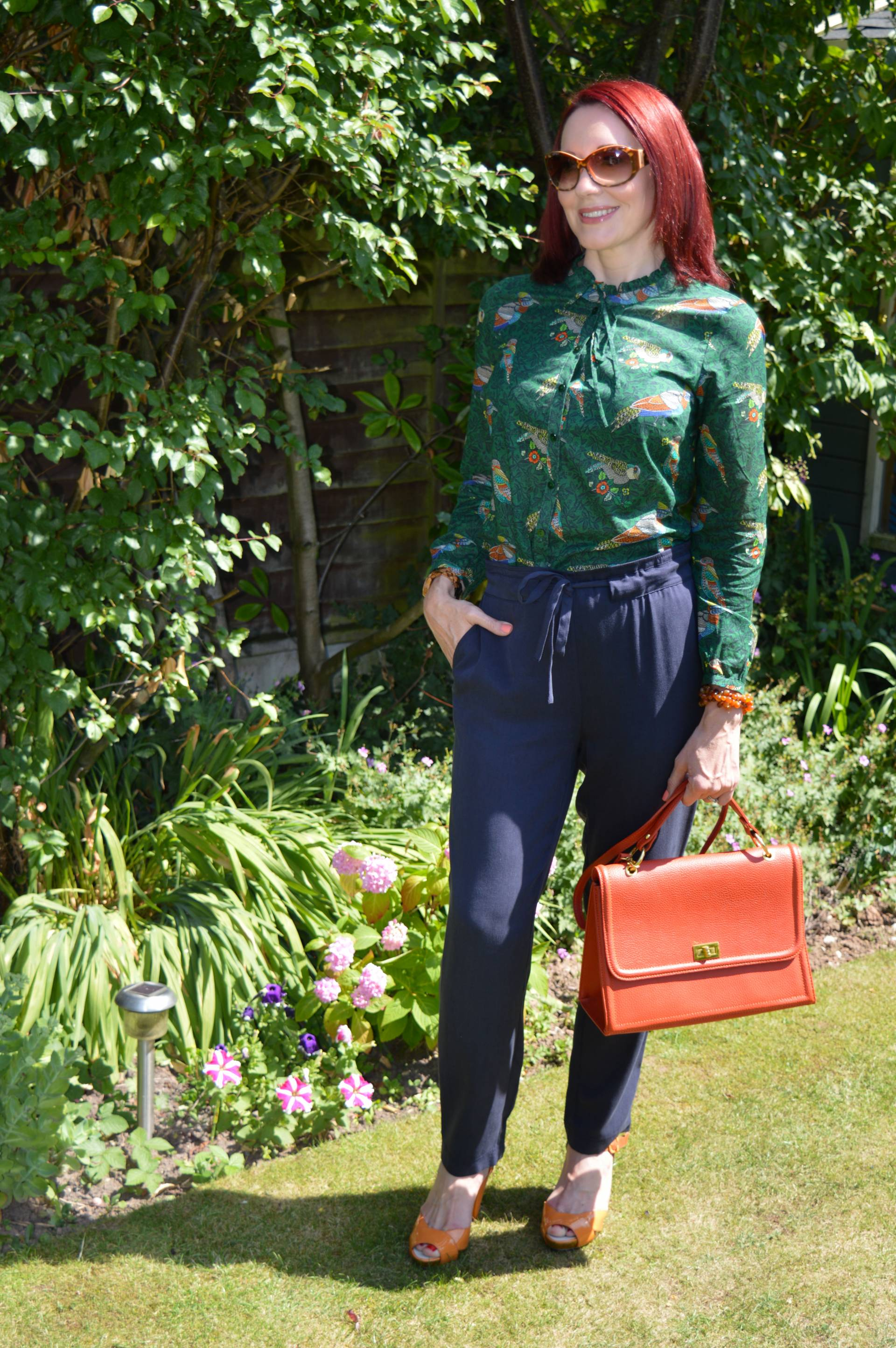 Laura Ashley Bird Print Blouse and Navy Trousers + Style With a Smile Link up