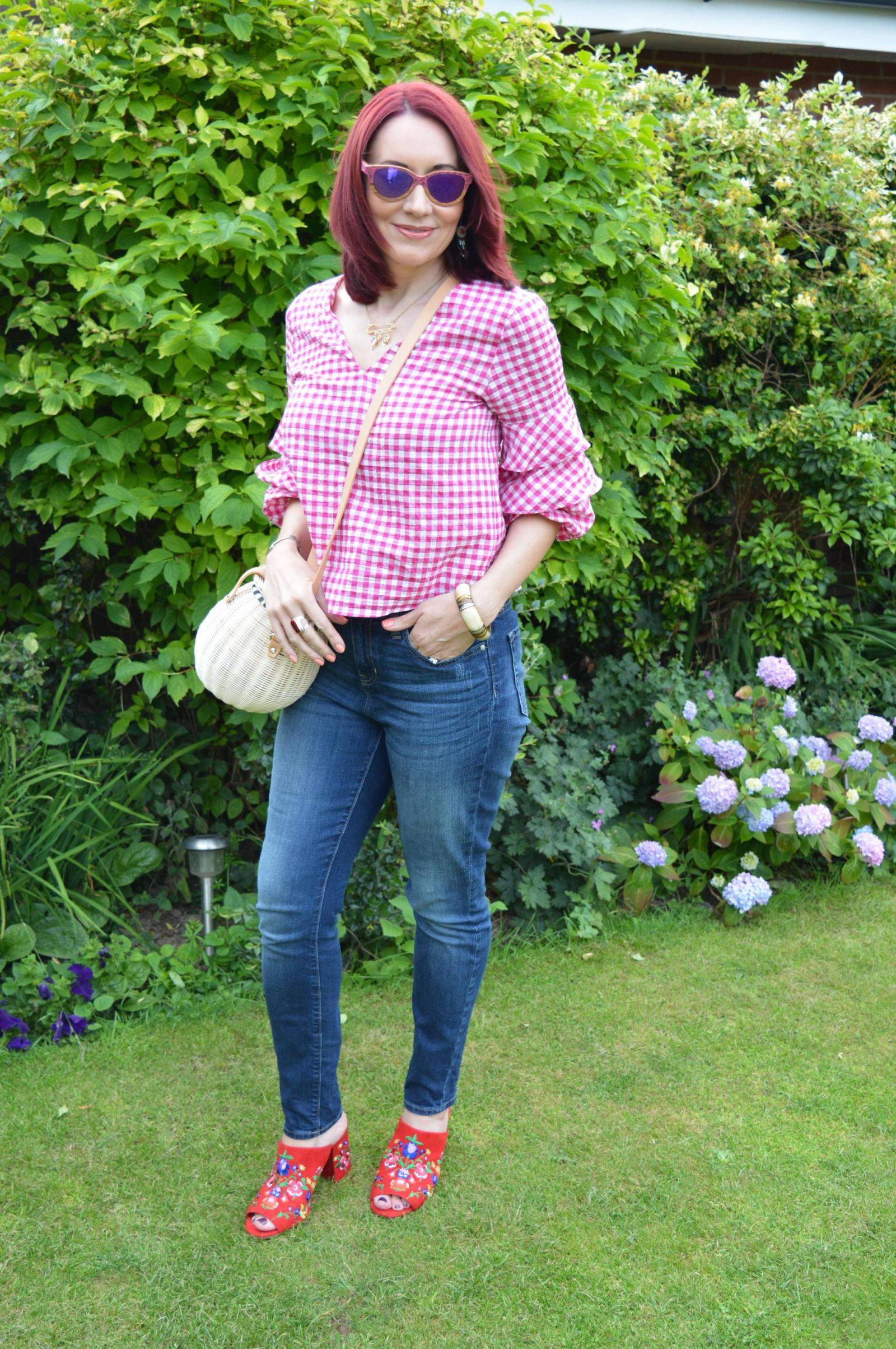 Gingham Ruffles, Denim and Embroidered Shoes Zara gingham top Marks and Spencer embroidered mules Zara basket bag