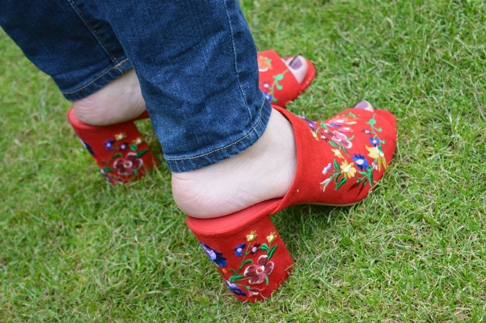 Gingham Ruffles, Denim and Embroidered Shoes Marks and Spencer embroidered mules