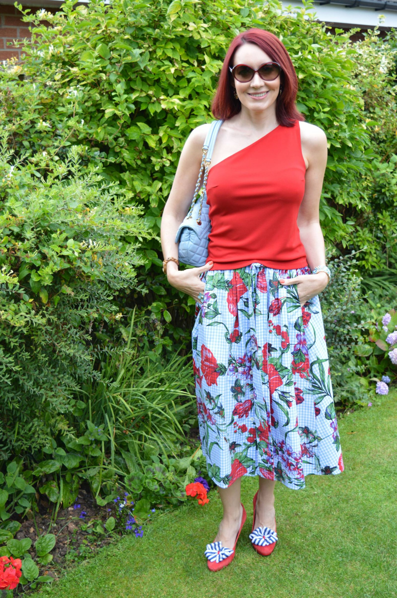 Red One Shoulder Top and Gingham Floral Skirt + Style With a Smile Link Up Zara gingham floral midi skirt Love Moschino blue bag
