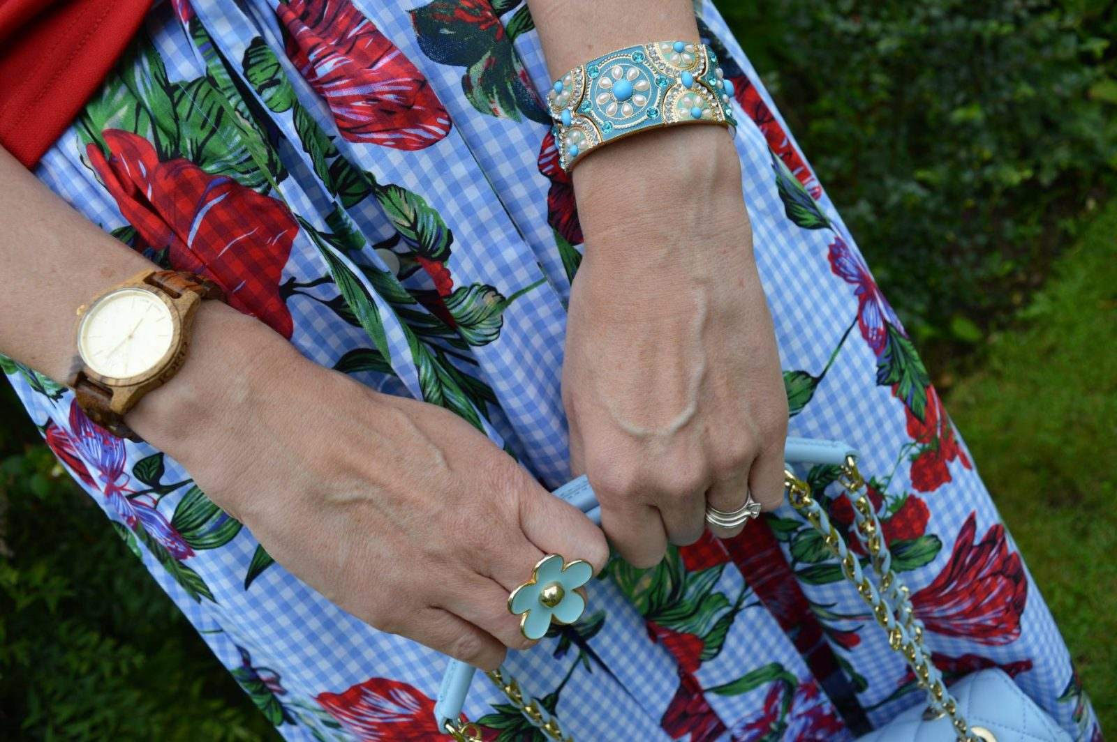 Red One Shoulder Top and Gingham Floral Skirt Zara gingham floral print skirt Love Moschino bag Jord wood watch