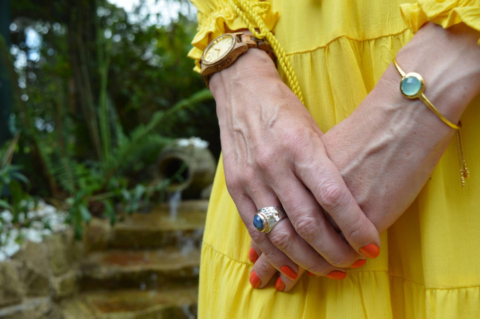 Marks an Spencer Sunshine Yellow Dress in Brittany Azuni gold bangle Jord wood watch Pia sapphire ring