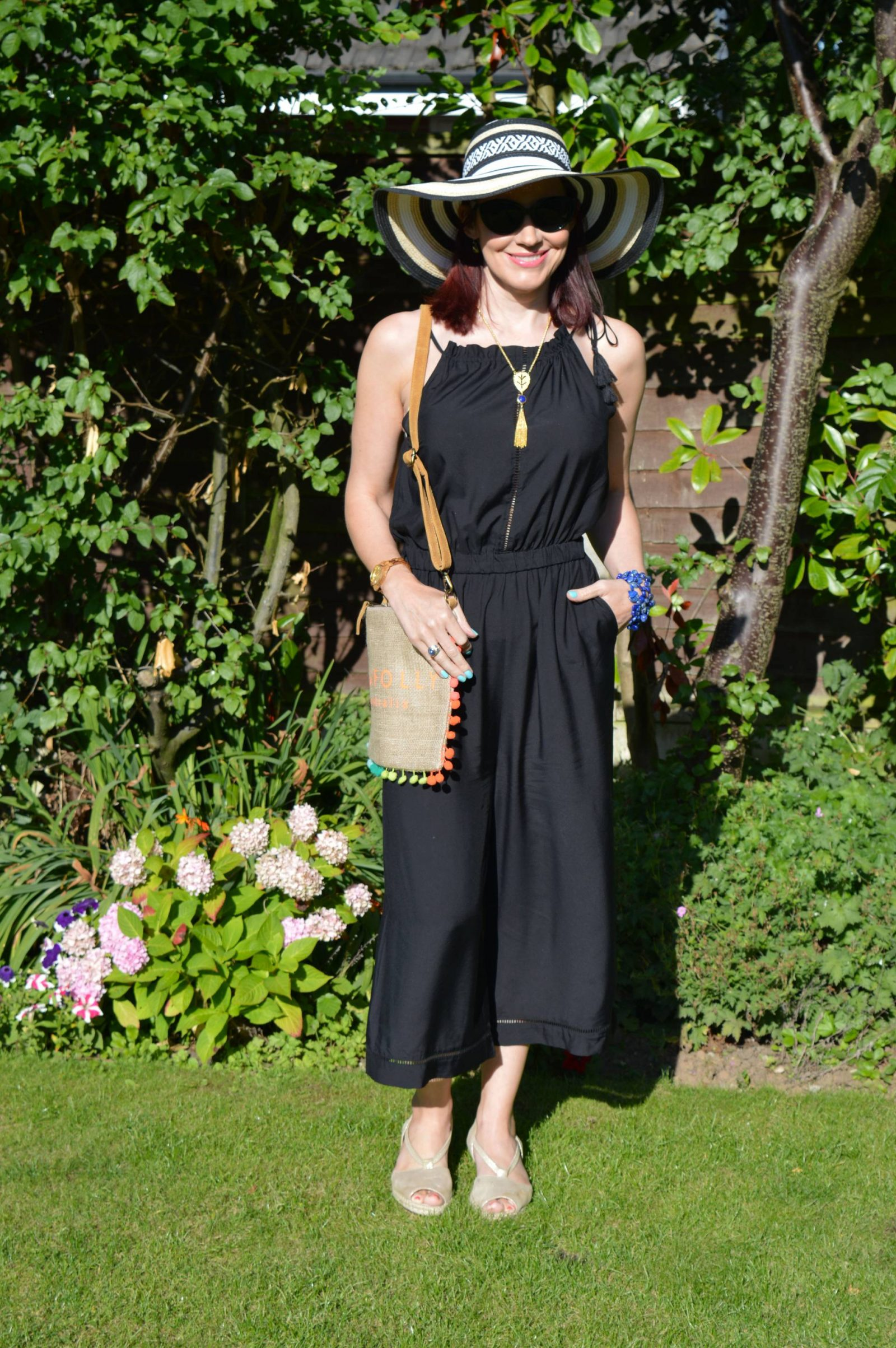 Seafolly Jumpsuit and Hessian Crossbody Pom Pom Bag