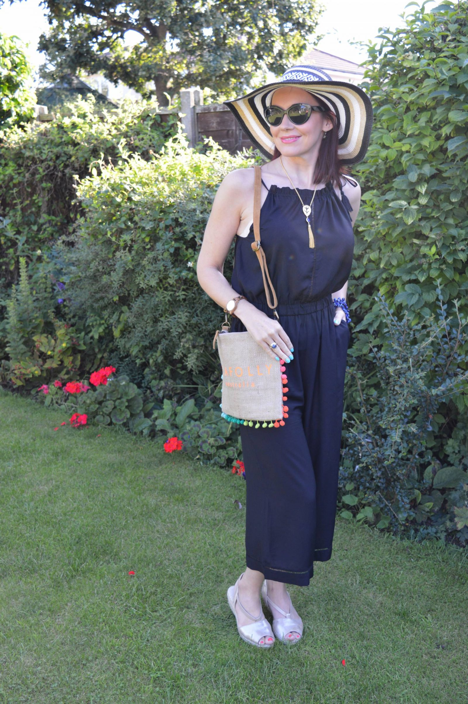 Seafolly Jumpsuit and Hessian Crossbody Pom Pom Bag 1