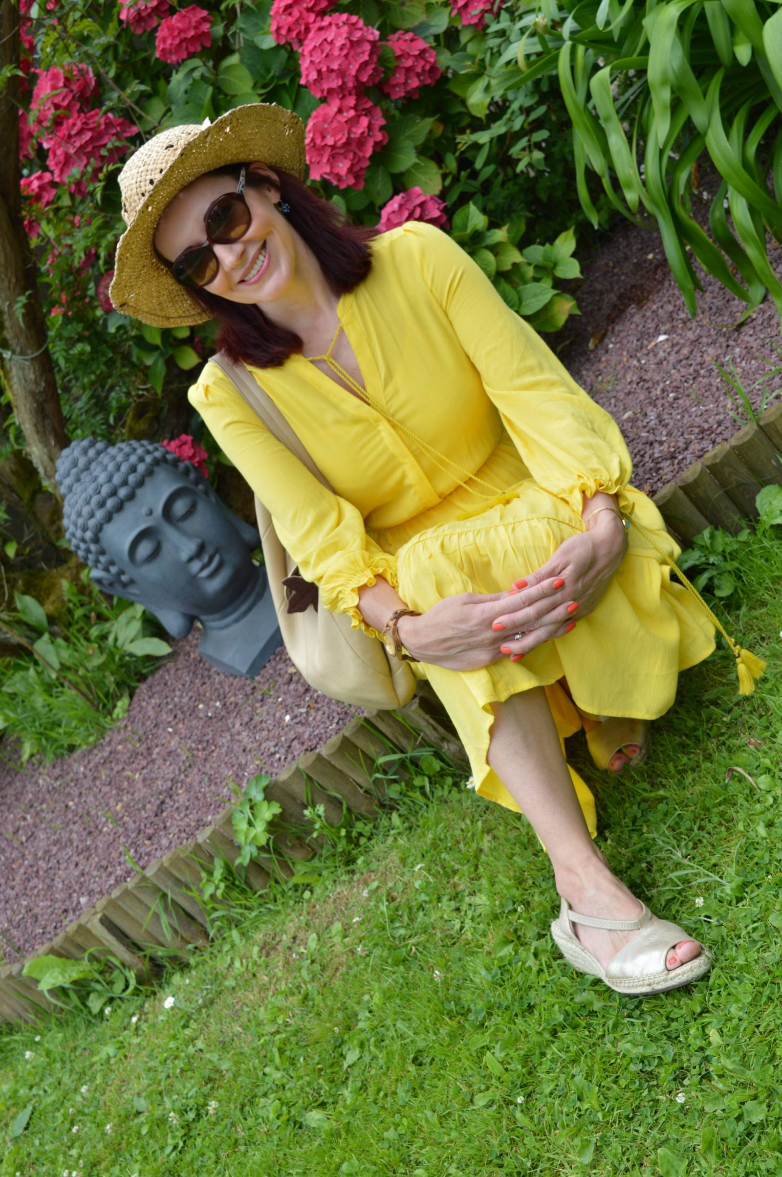 Marks an Spencer Sunshine Yellow Dress in Brittany Clarks gold espadrilles
