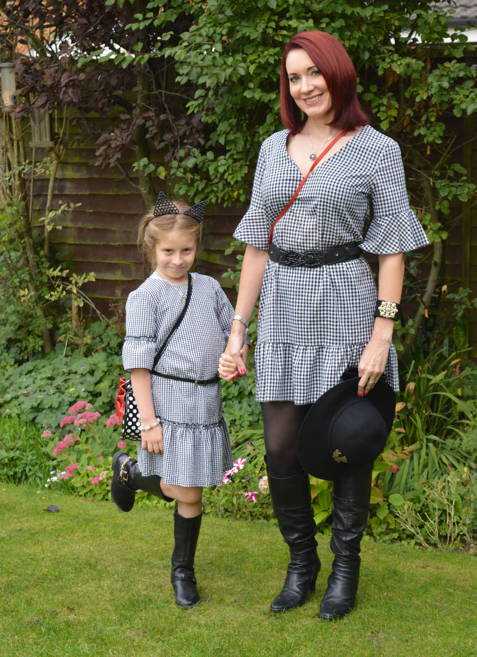 Matching Gingham Dresses and Boots + Style With a Smile Link Up