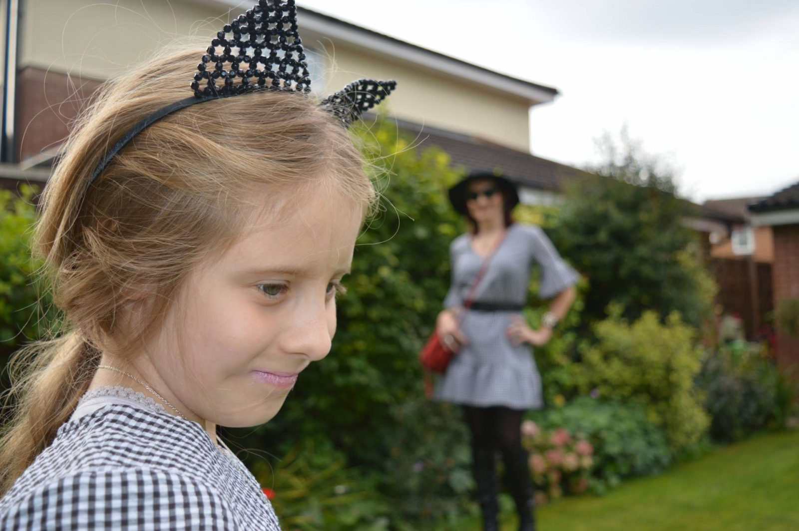 Matching Gingham Dresses and Boots cat ear beaded headband