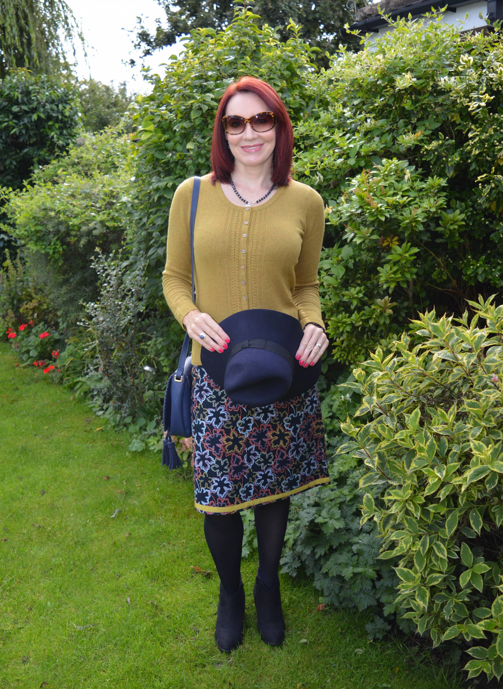Mistral Cardigan and Leaf Print Skirt + Style With a Smile Link Up