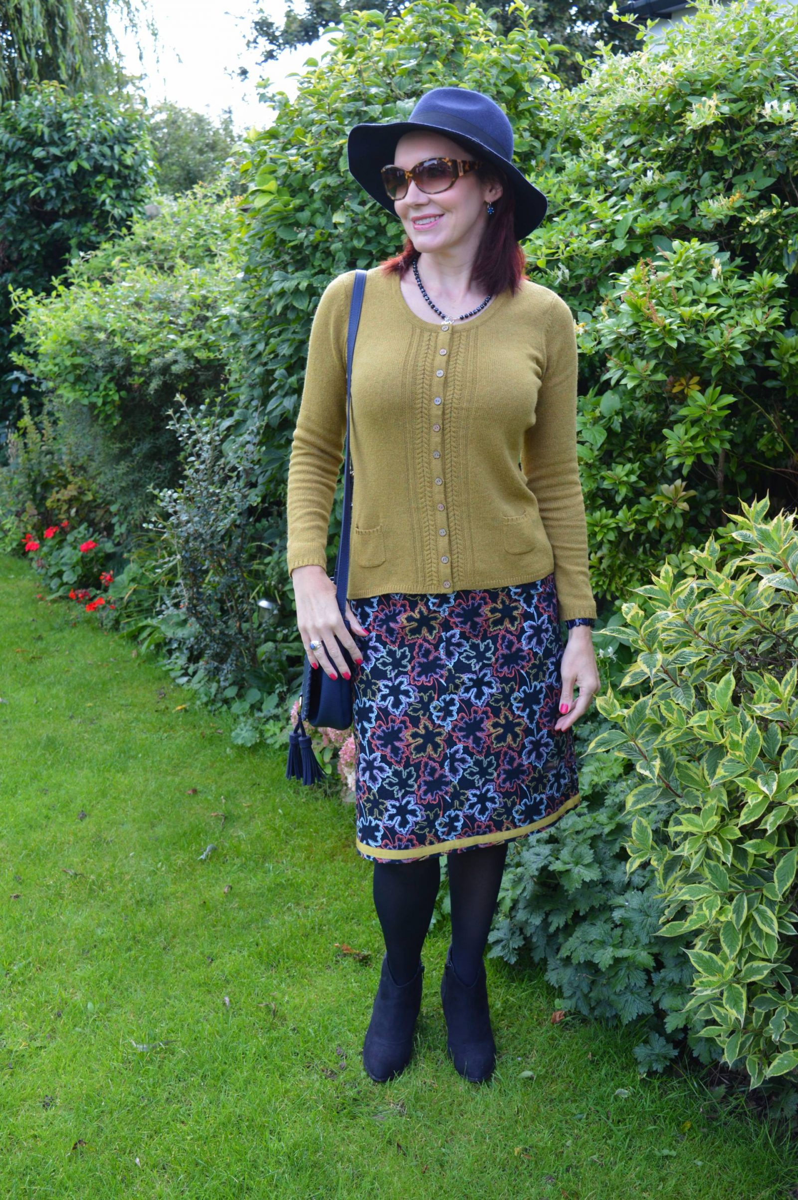 Mistral Cardigan and Leaf Print Skirt