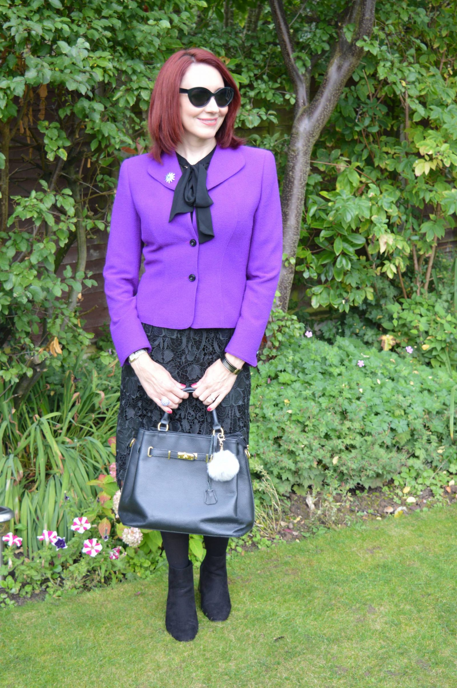 Purple Escada Jacket and Black Lace Skirt