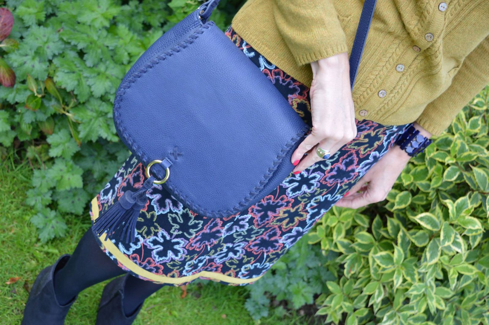 Mistral Cardigan and Leaf Print Skirt Laura Ashley whipstitch saddle bag
