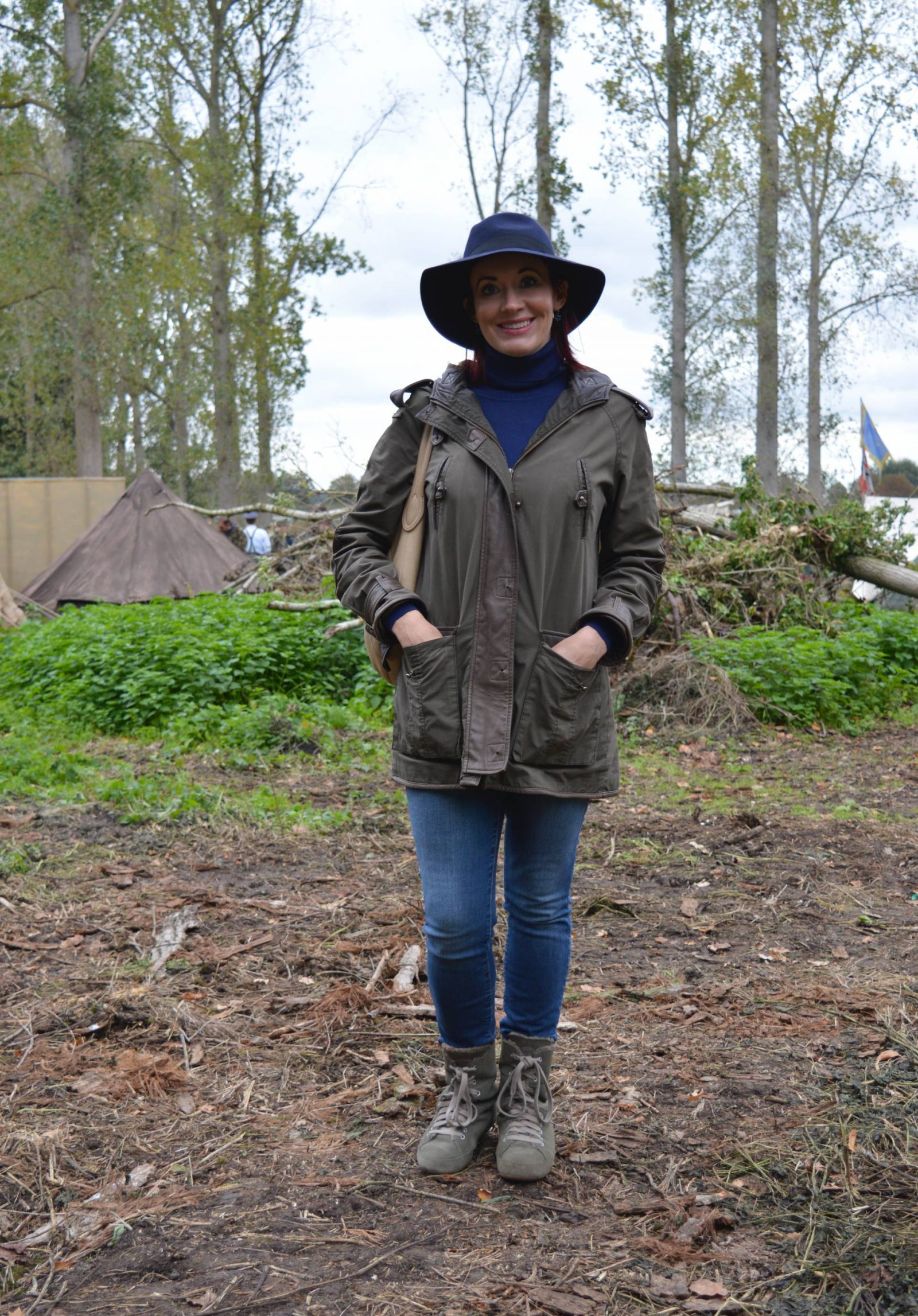 'Life on the Holme Front' 1940s Weekend khaki Asos coat