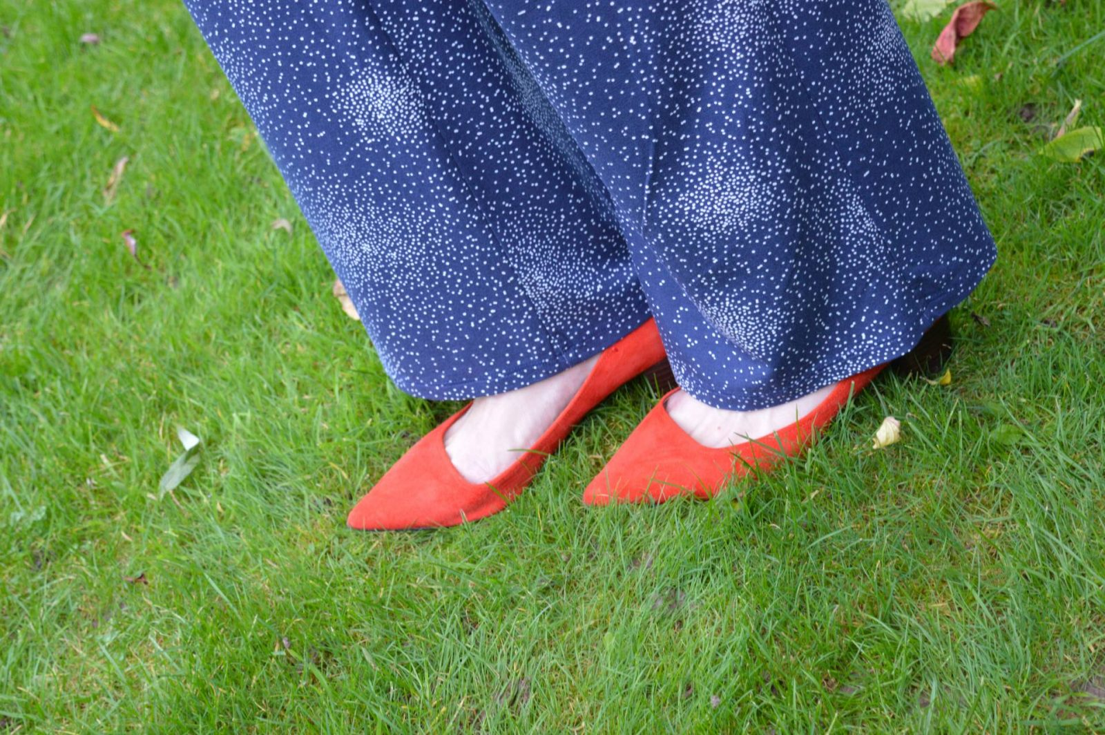 Styling a Jumpsuit For Day to Night Laura Ashley jumpsuit red suede M&S shoes