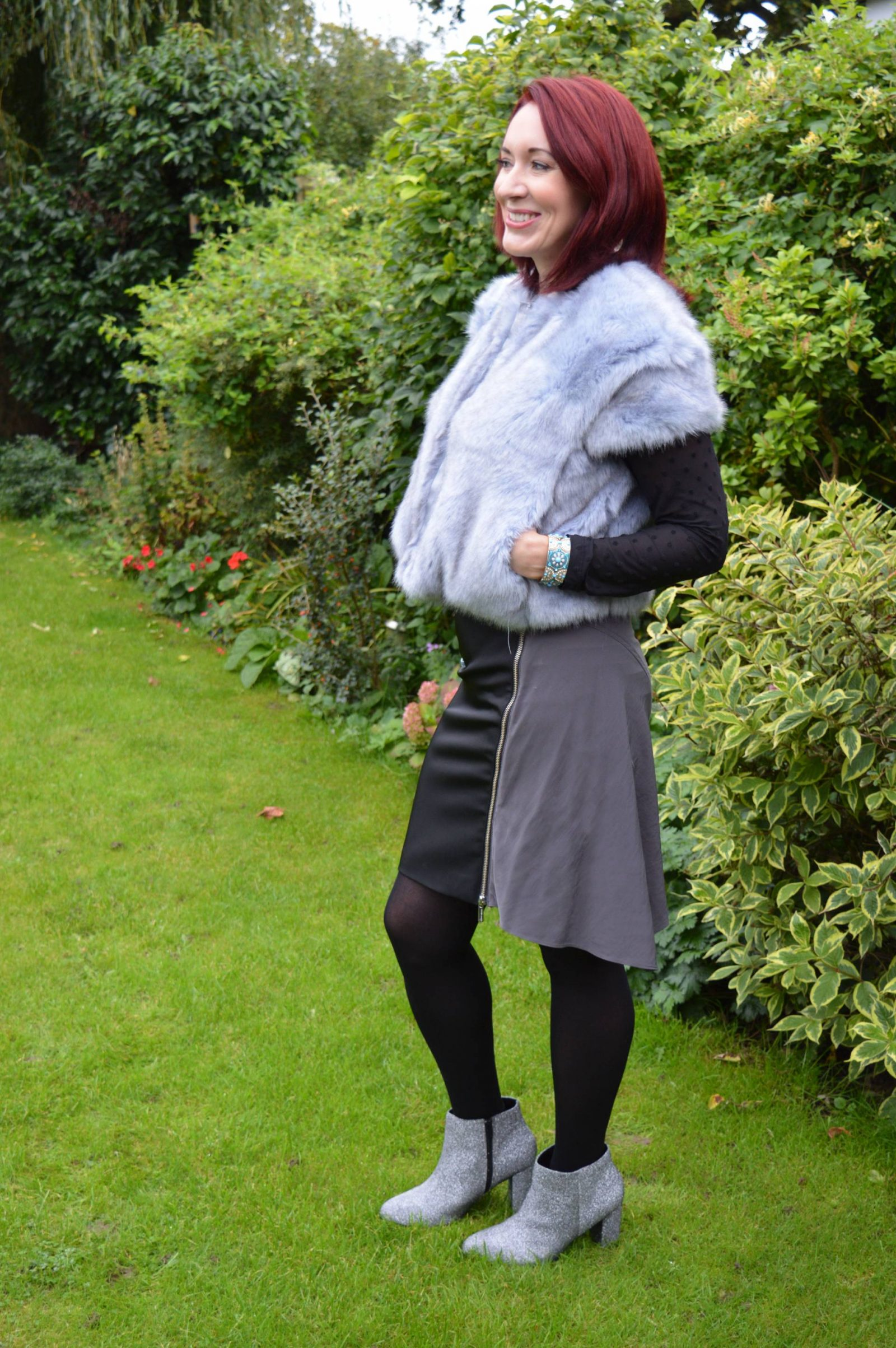Faux Fur With Silver Sparkles French Connection faux fur jacket silver ankle boots