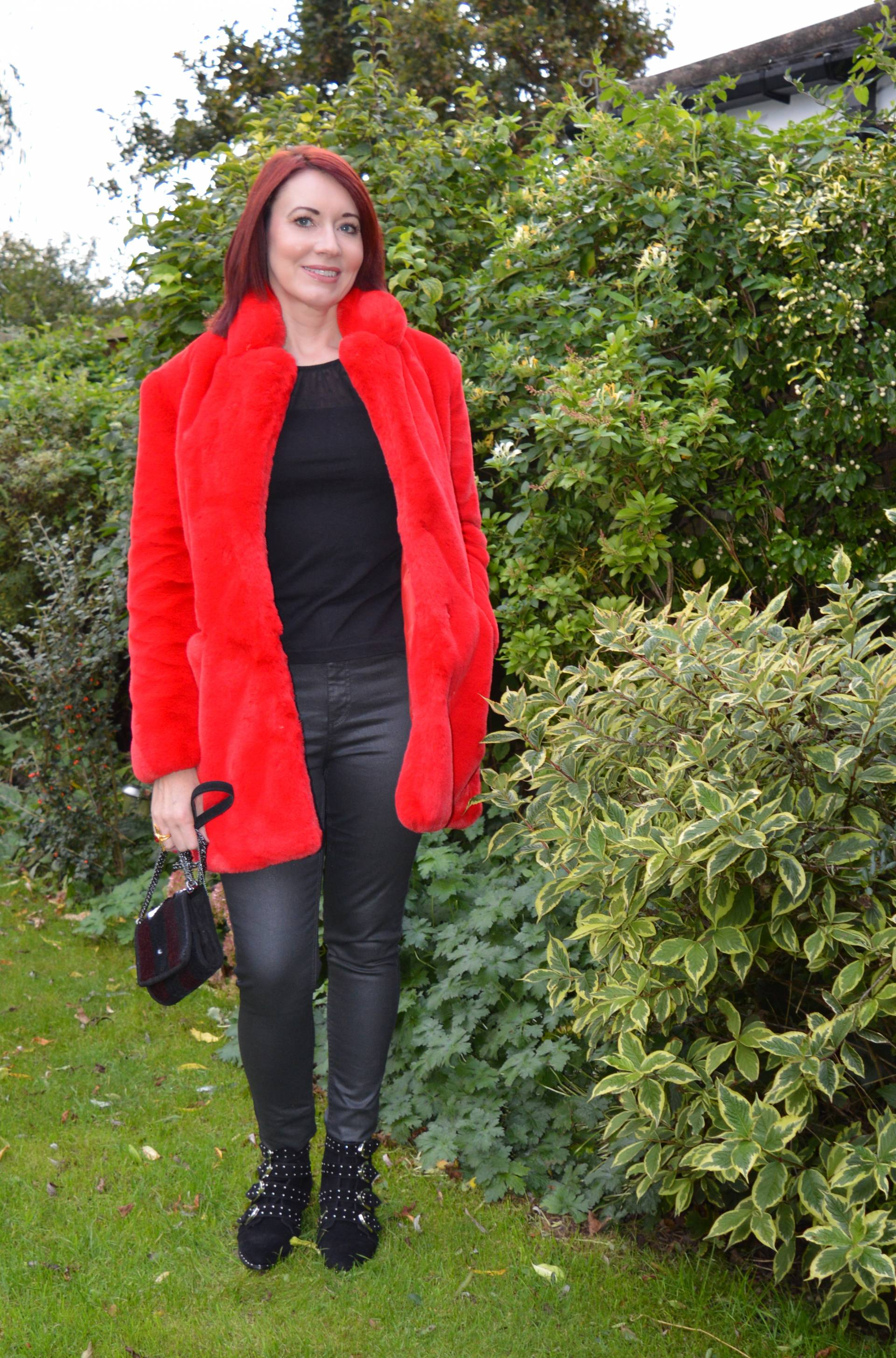Red Faux Fur Coat and Black Coated Jeans + Style With a Smile Link Up