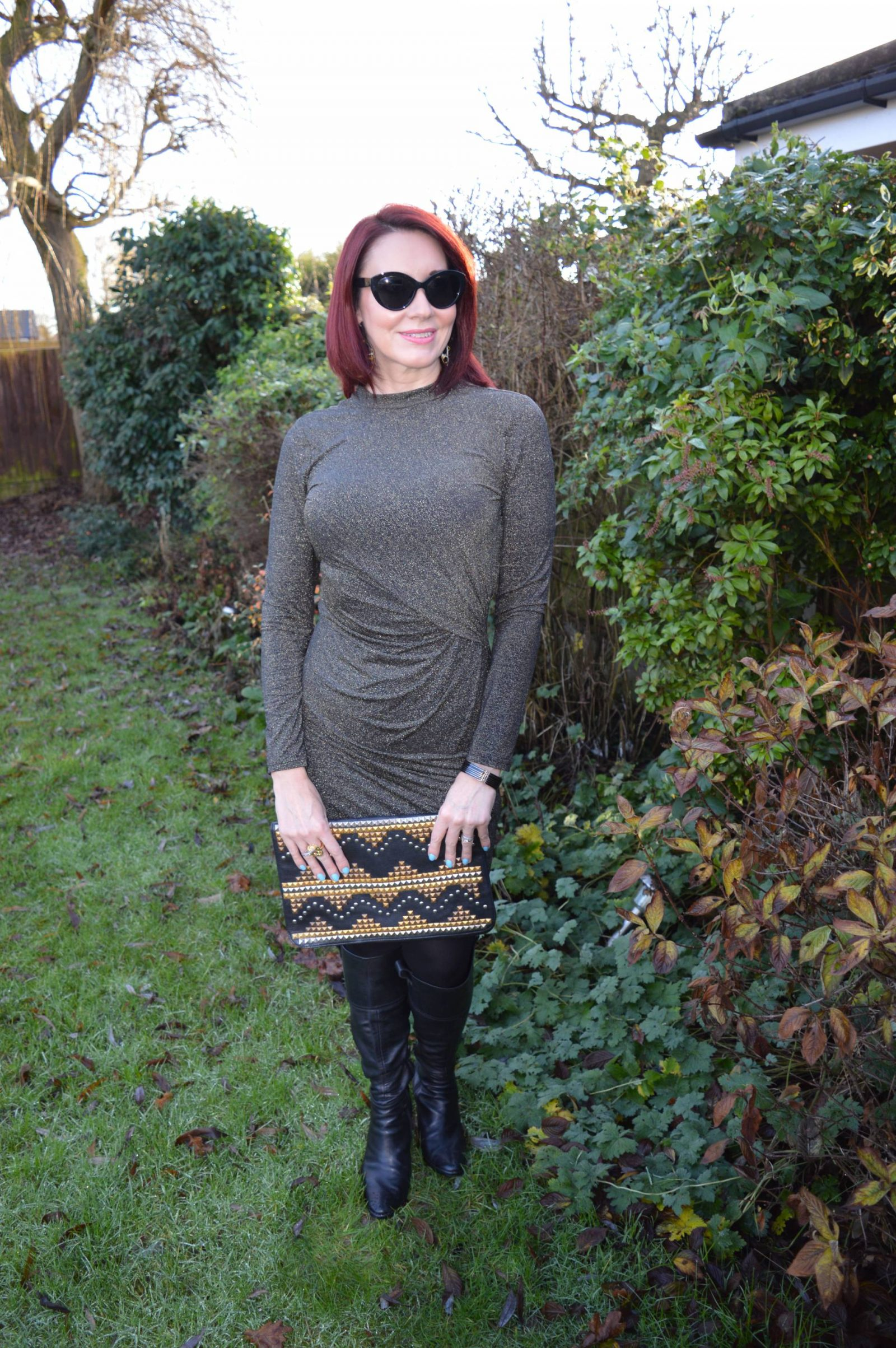Gold Lurex Dress and Knee Boot