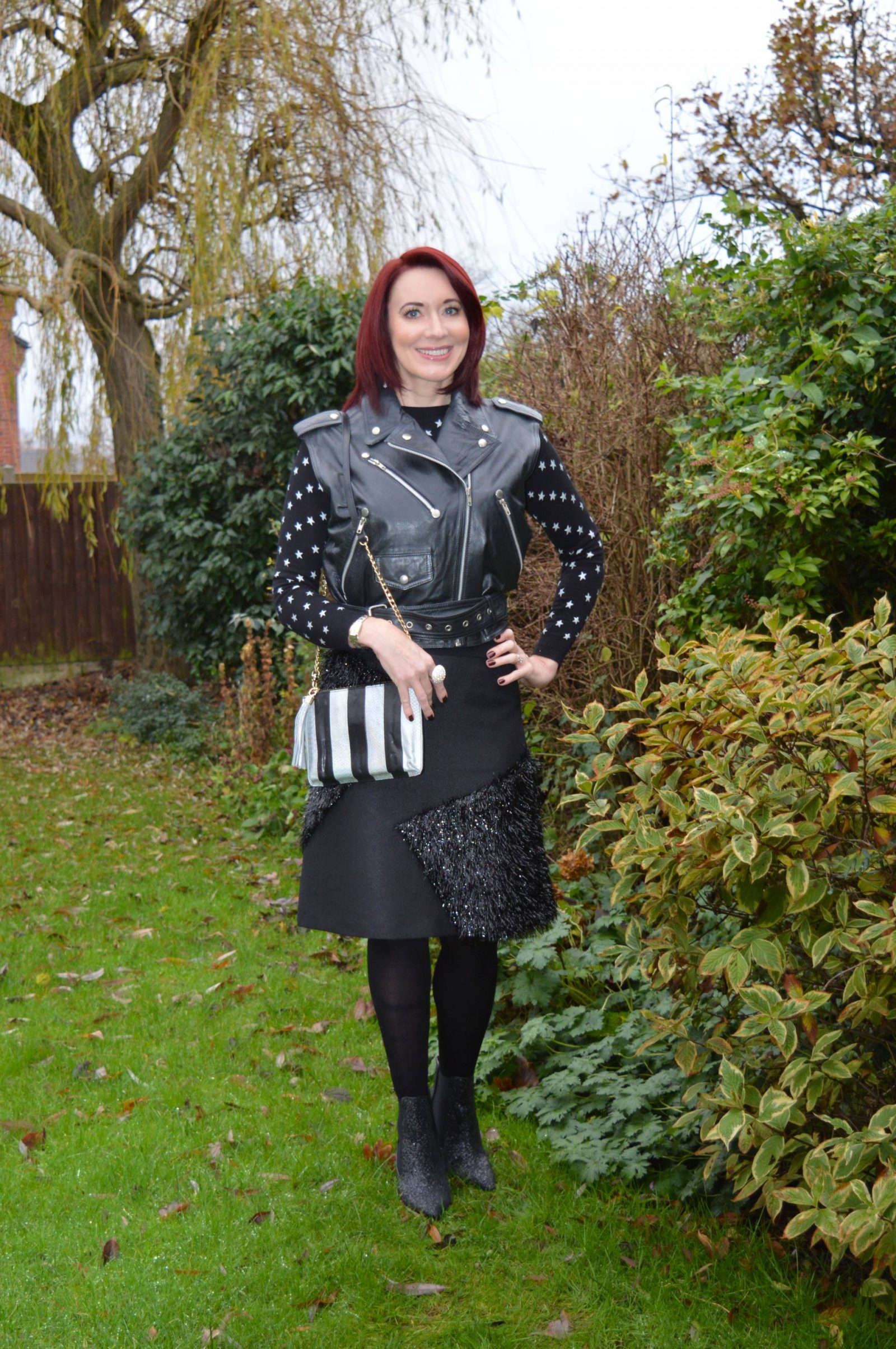 Black Tinsel Skirt, Glitter Boots and Star Jumper + Link Up, Topshop tinsel skirt, Marks and Spencer star jumper