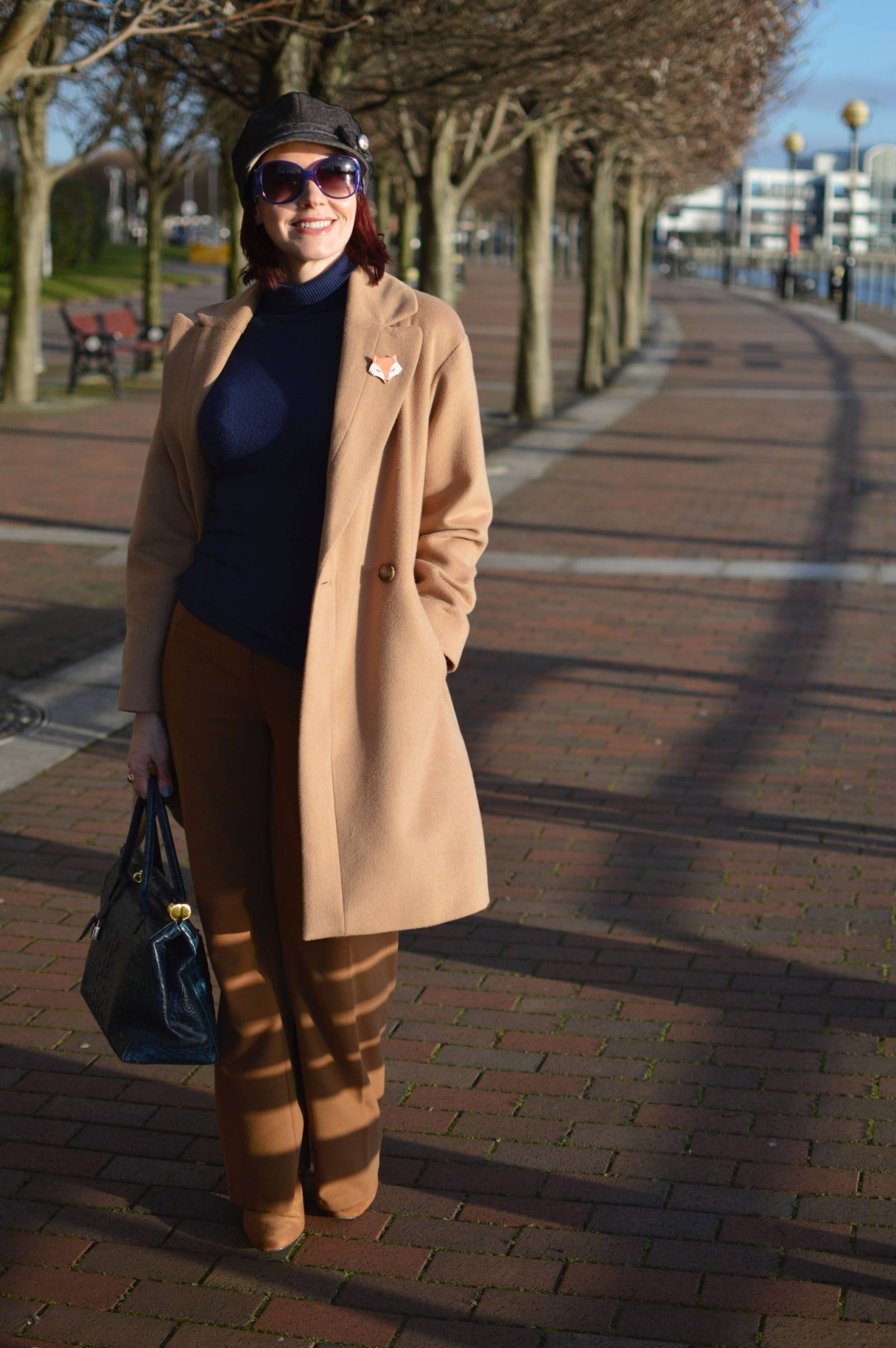 Camel Coat and Grey Baker Boy Hat