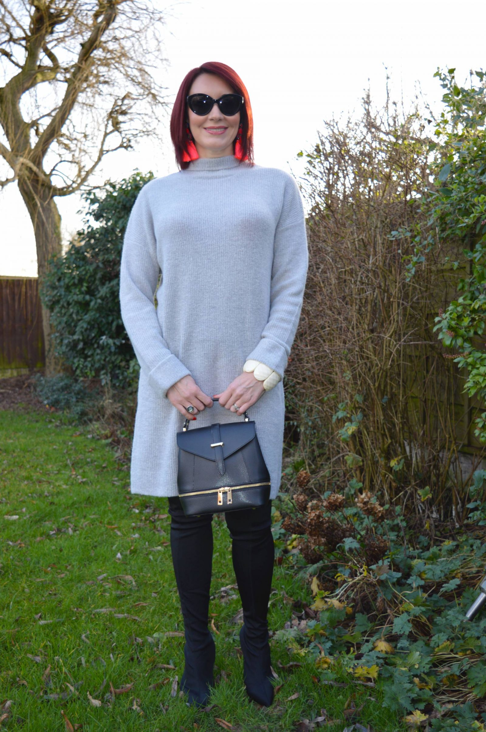 Grey Jumper Dress and Over the Knee Sock Boots
