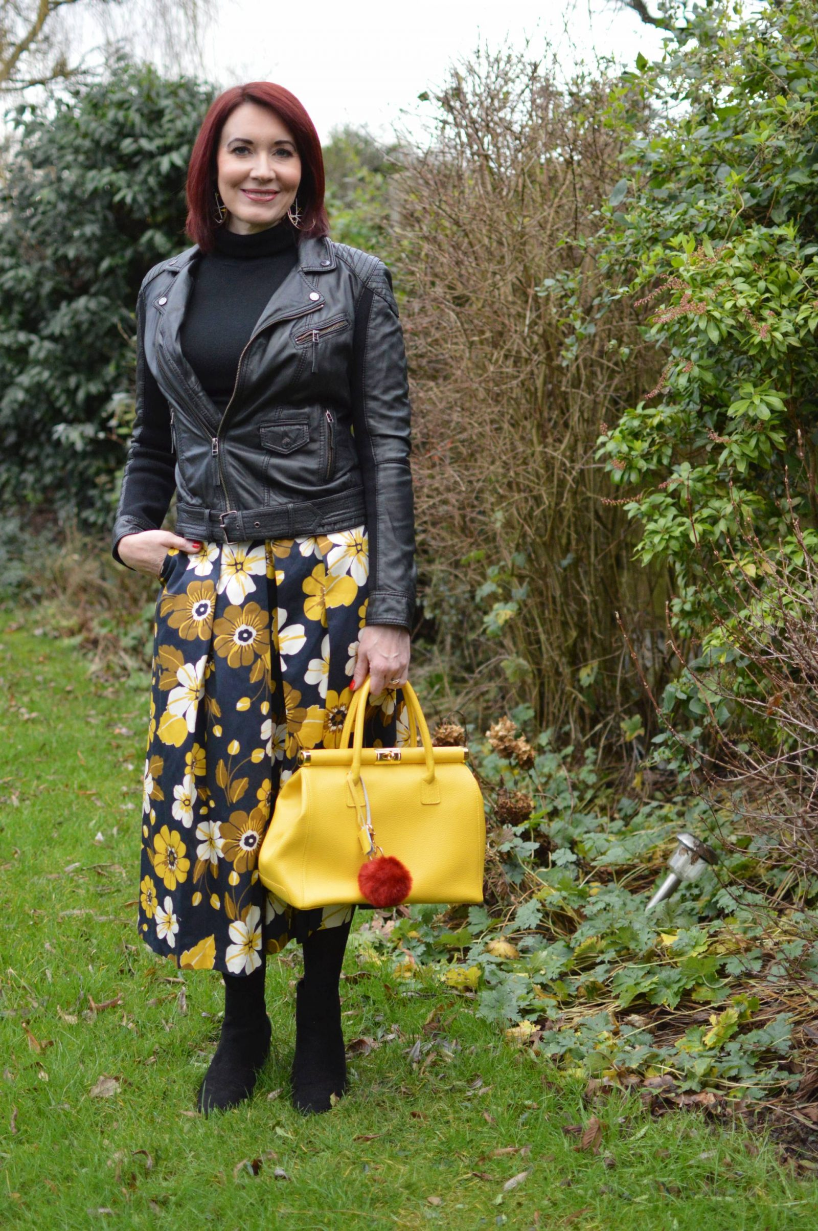 Floral Print Midi Skirt and Biker Jacket
