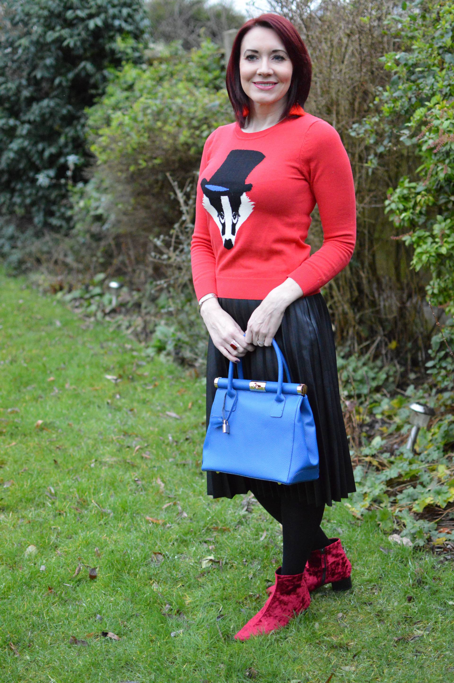 Faux Leather Pleated Skirt and Badger Jumper + Link Up