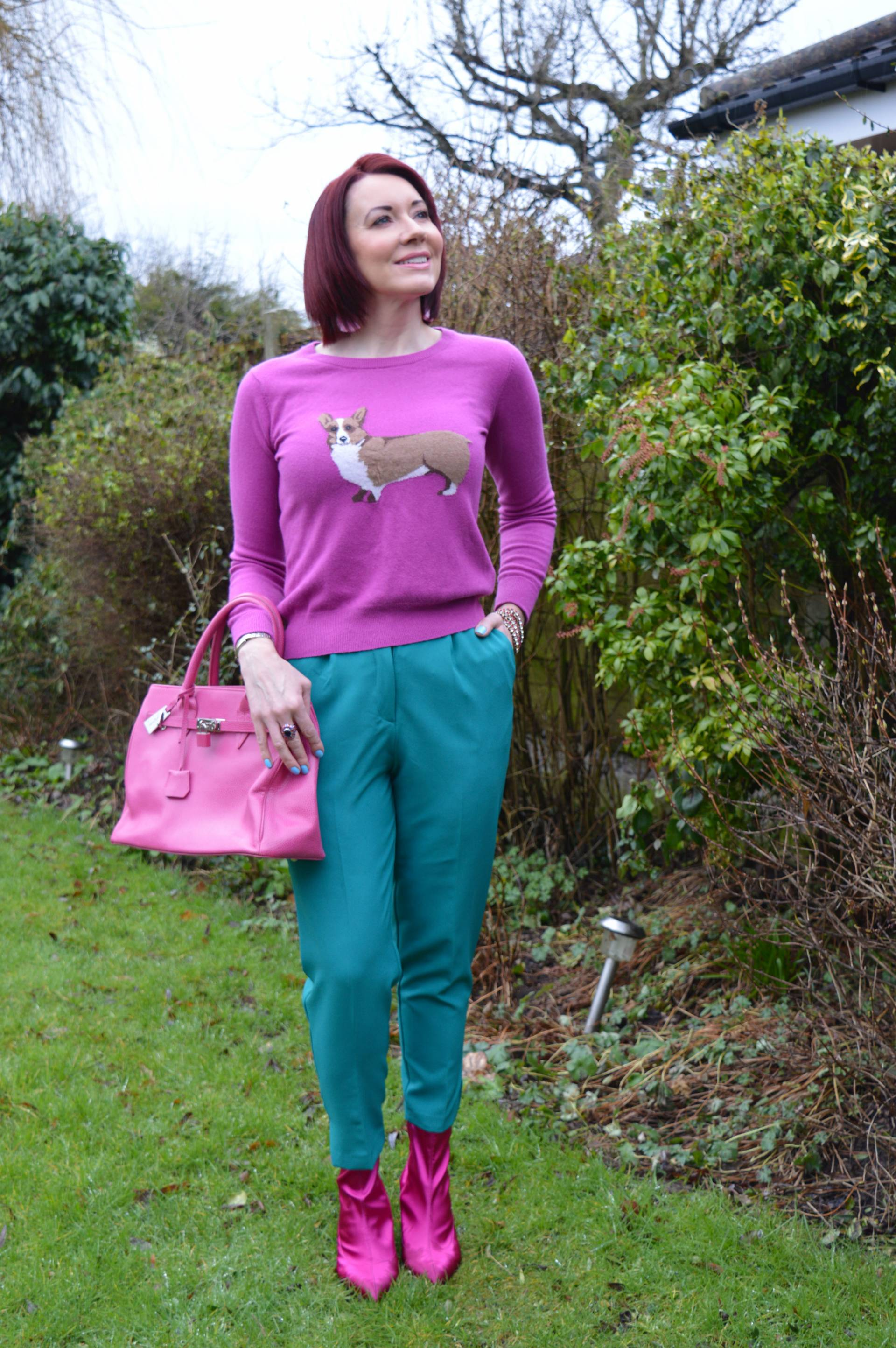 Pink Joules Corgi Jumper and Bright Green Trousers + Link Up