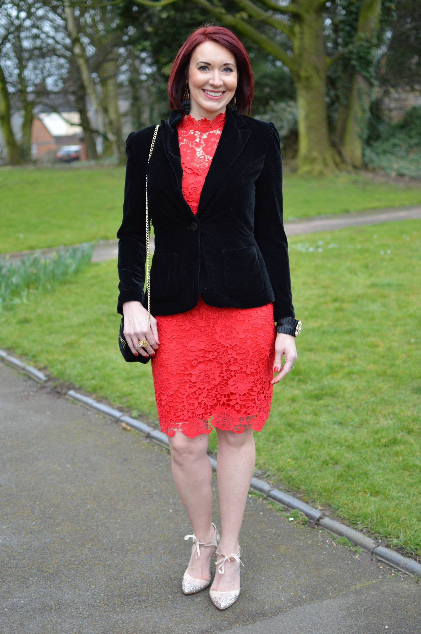 Red Lace Dress and Velvet Jacket