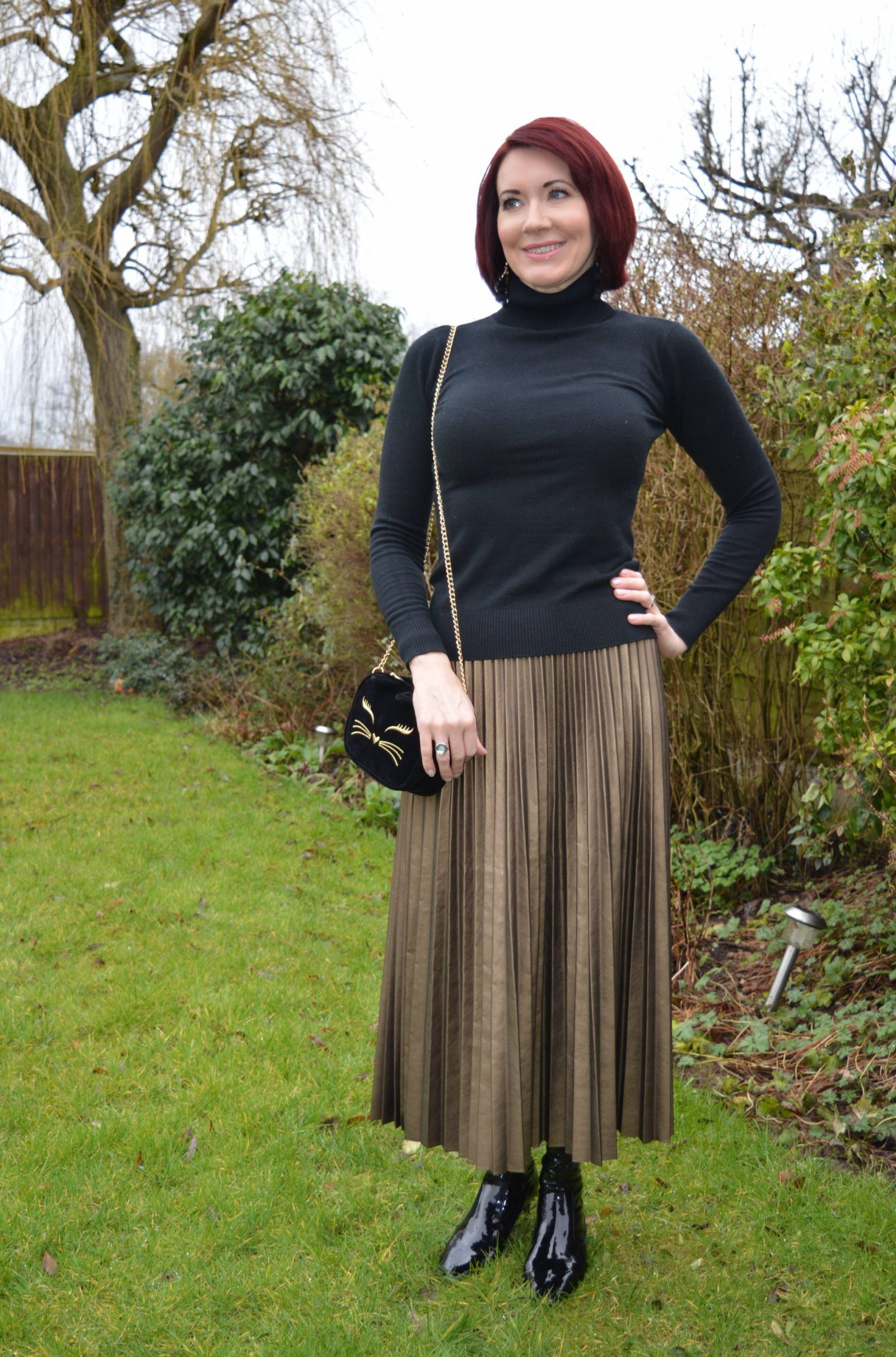 Bronze Faux Leather Pleated Skirt and Patent Boots