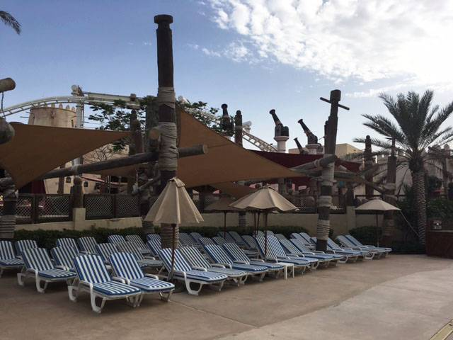 Facing My Fears in the Water, sunloungers, Yas Waterworld Abu Dhabi