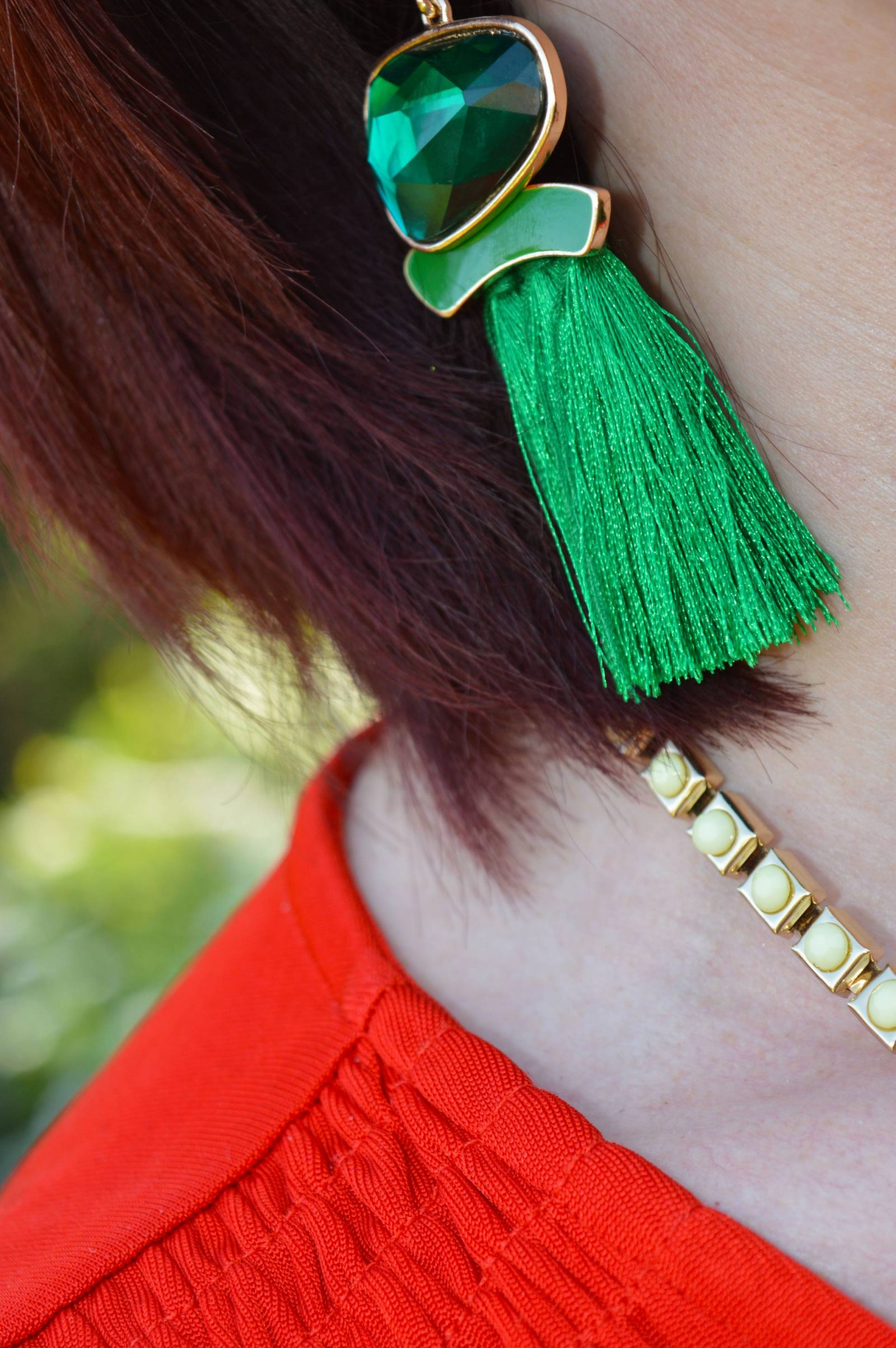 After the Rain Comes the Rainbow , green tassel earrings