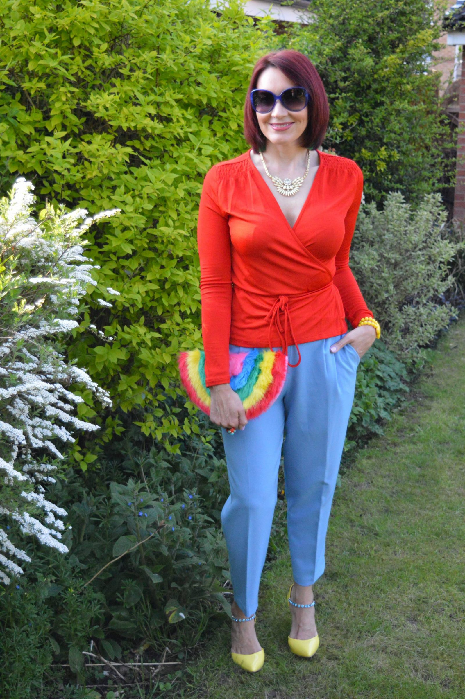 After the Rain Comes the Rainbow , red & Other Stories wrap top, Skinny Dip faux fur rainbow clutch