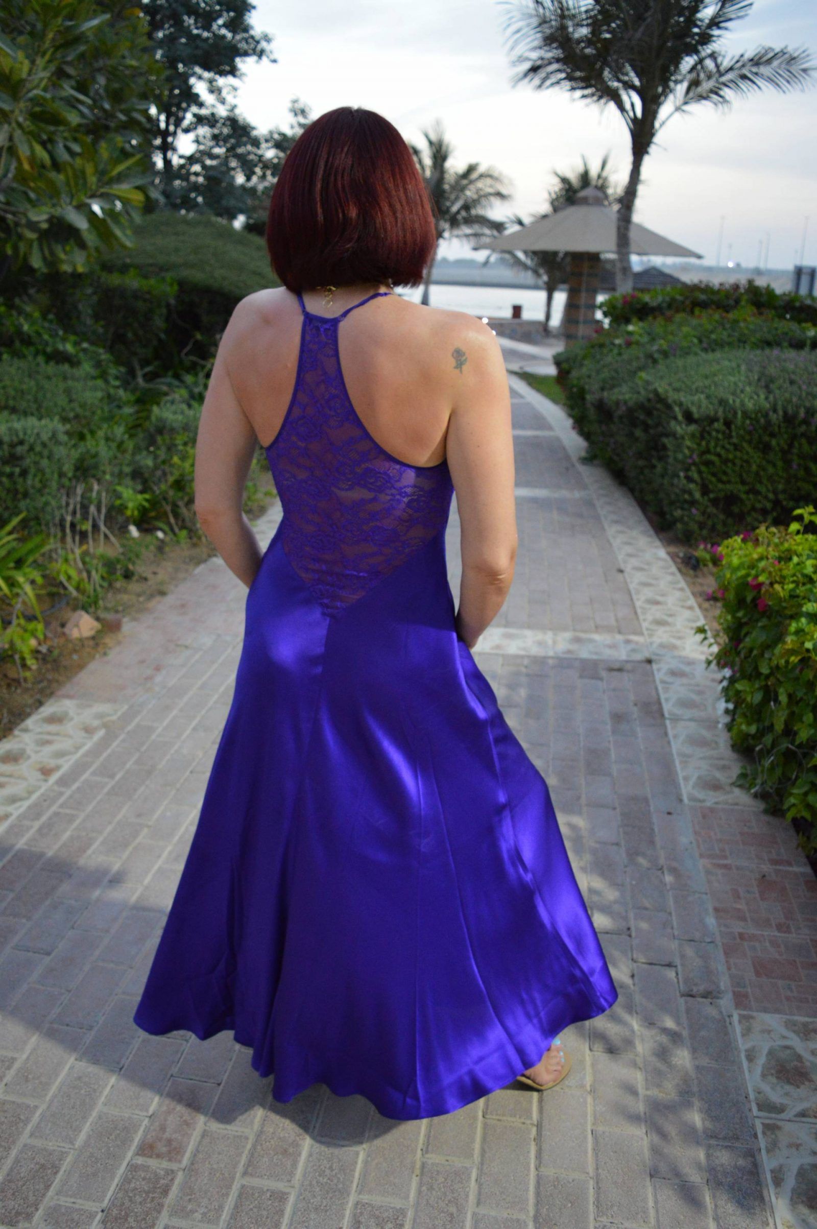 Styling a Long Silk Gown With Streetwear, NK iMode Gypsy Long Silk Gown in Ultra Violet