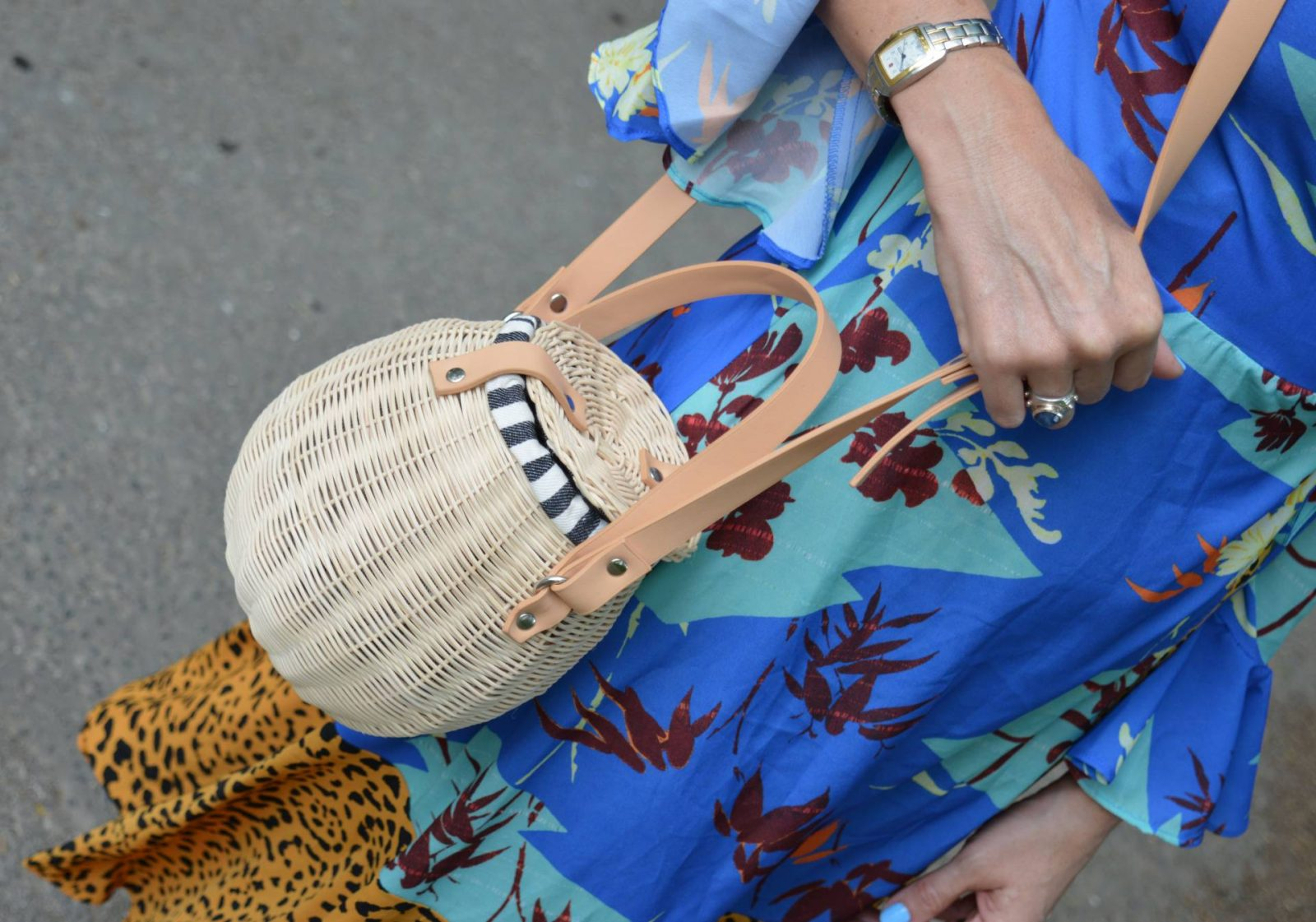 Asos Mix print wrap dress for an anniversary lunch, Zara rattan basket bag