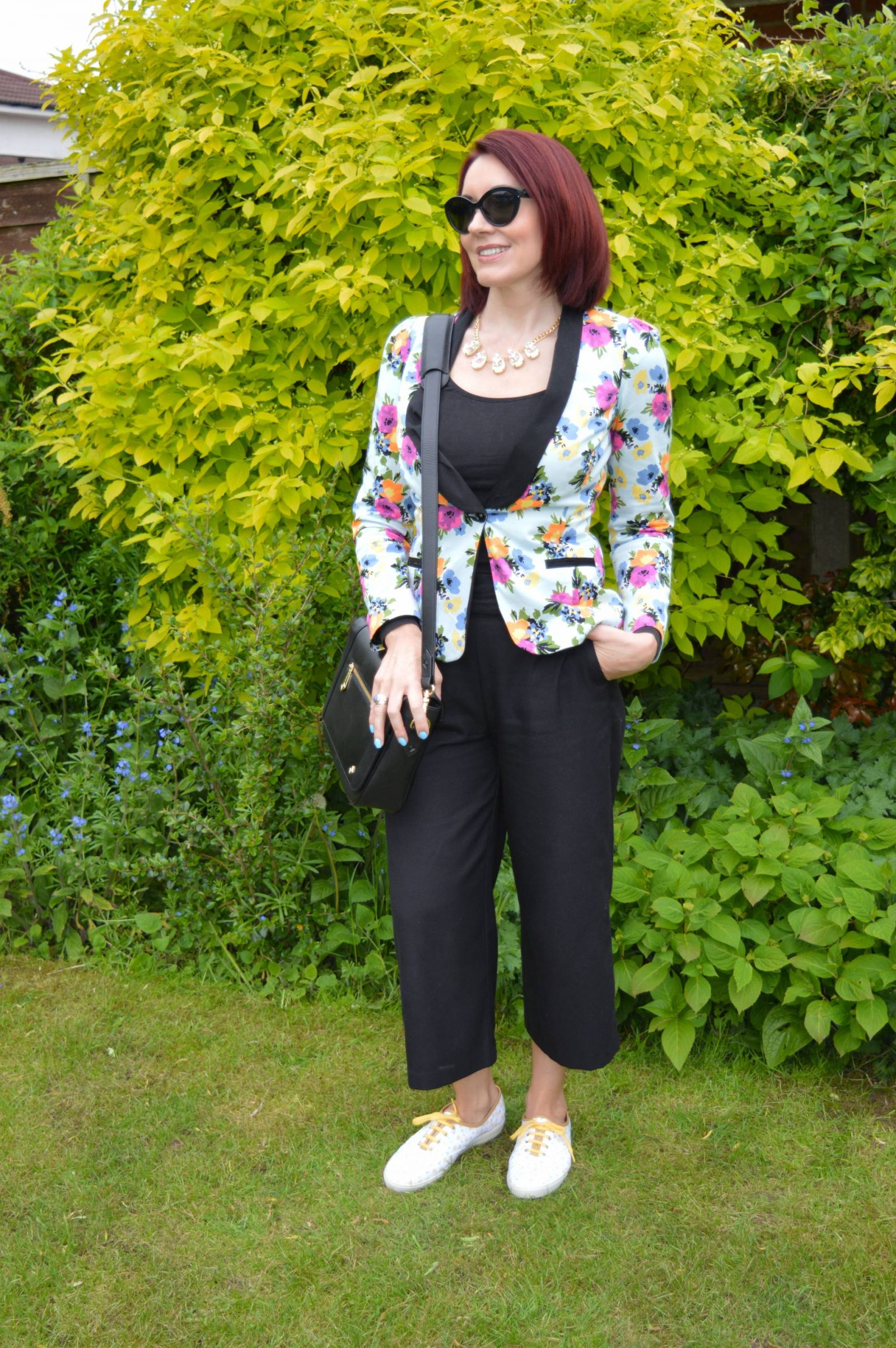 Styling floral prints for a comfy office-appropriate look, Star by Julien Macdonald floral print jacket, Jennifer Hamley Mini KT bag, Hotter Mabel daffodil shoes