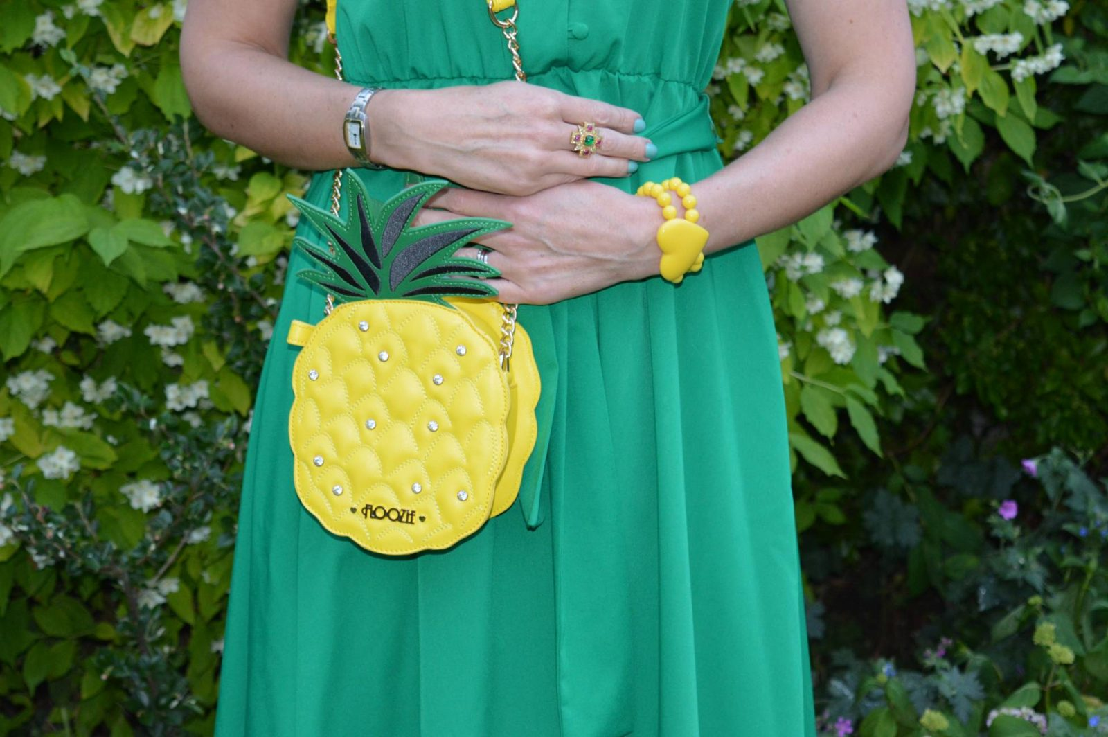 Zara Green midi dress and pineapple bag, Les Nereides heart bracelet