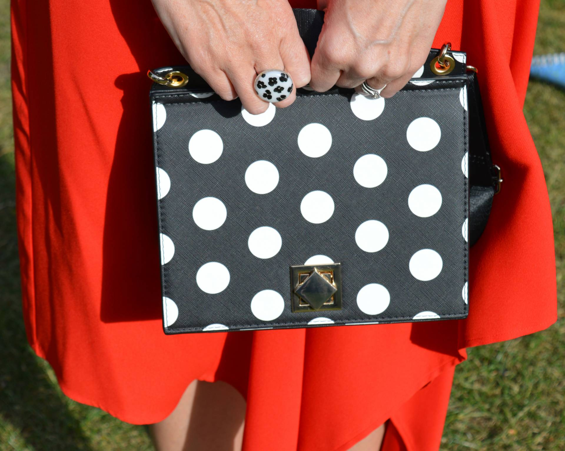 Black and white polka dots with an asymmetric skirt + link up