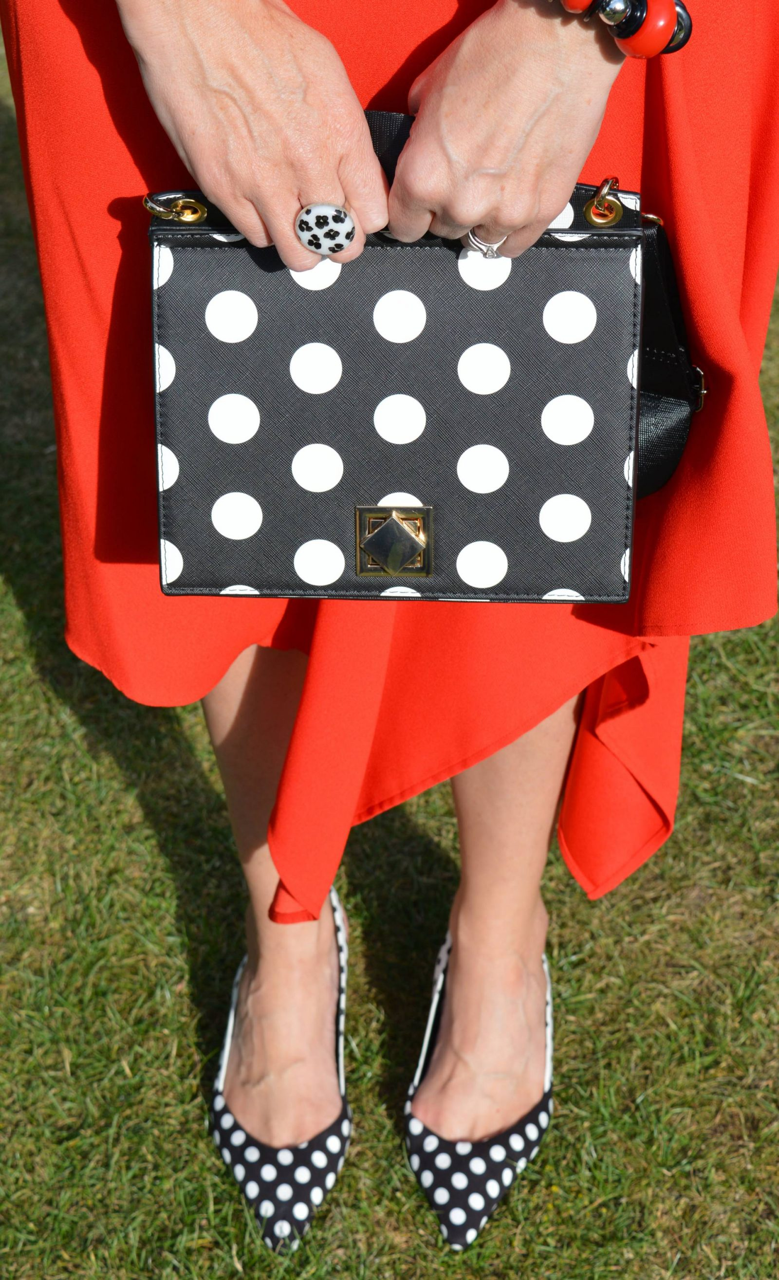 Black and white polka dots with an asymmetric skirt, Zara polka dot bag, Marks & Spencer polka dot slingback shoes