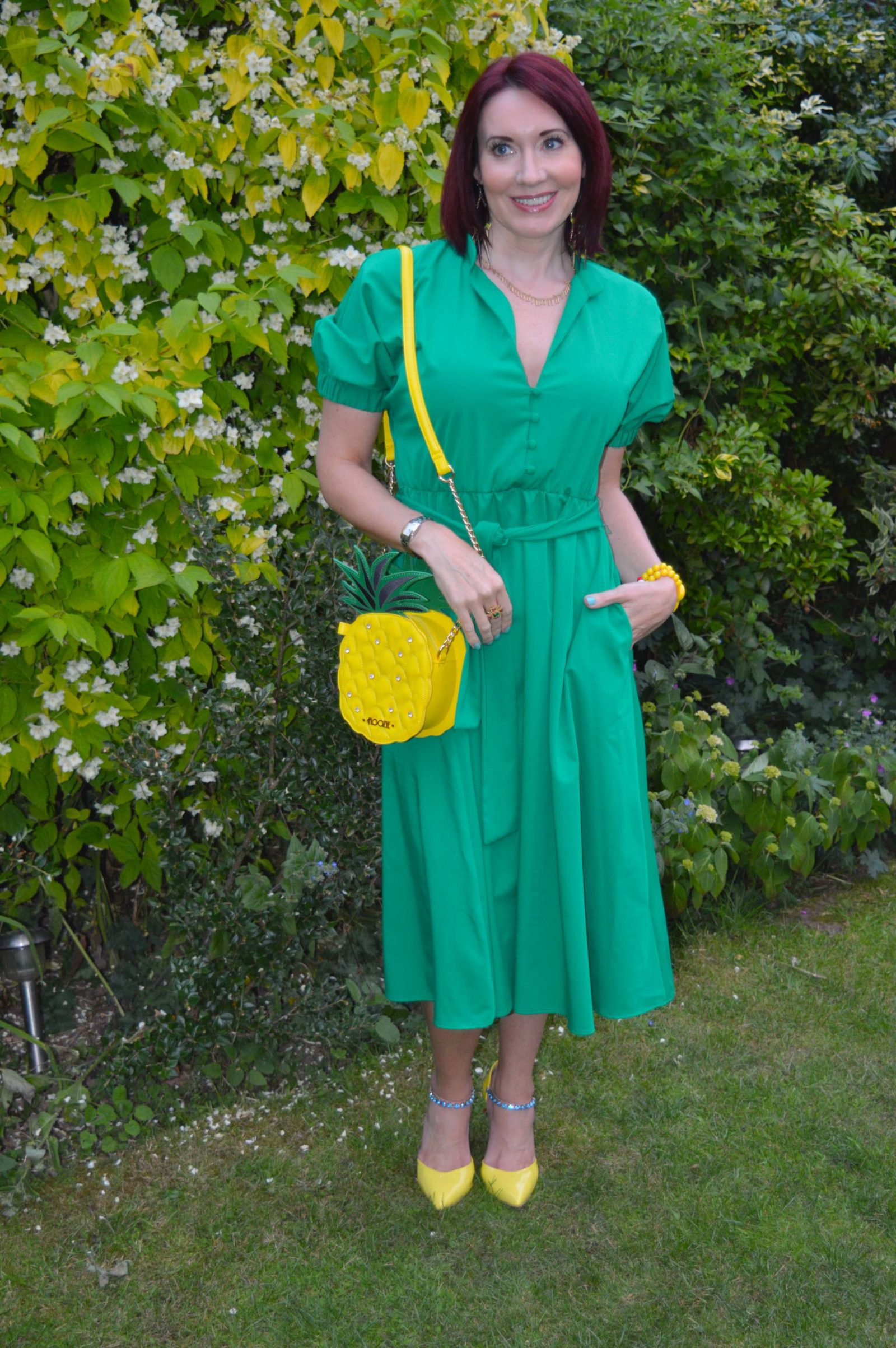 Zara Green midi dress and pineapple bag
