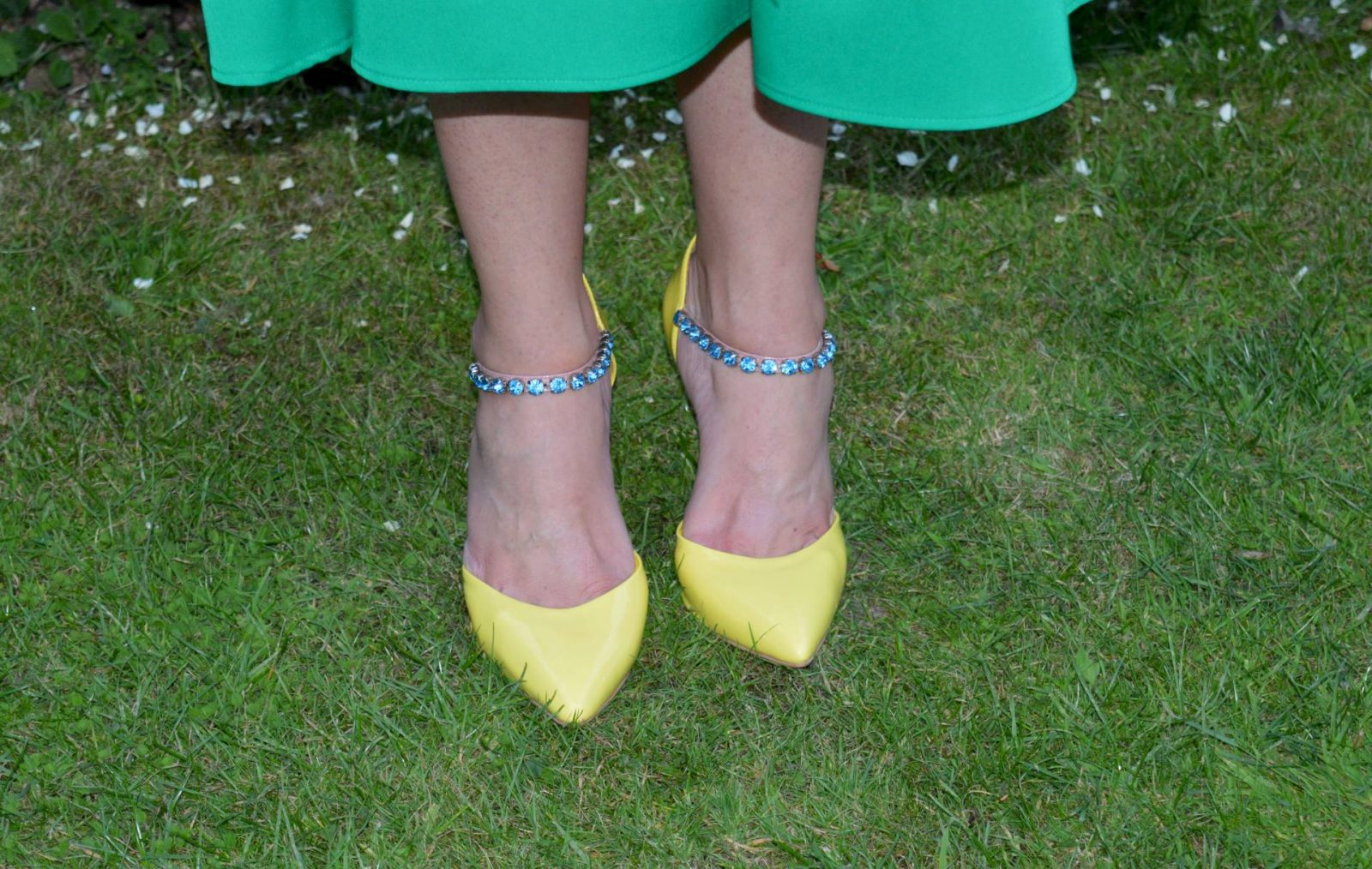 Zara green midi dress & Carvela jewel strap shoes