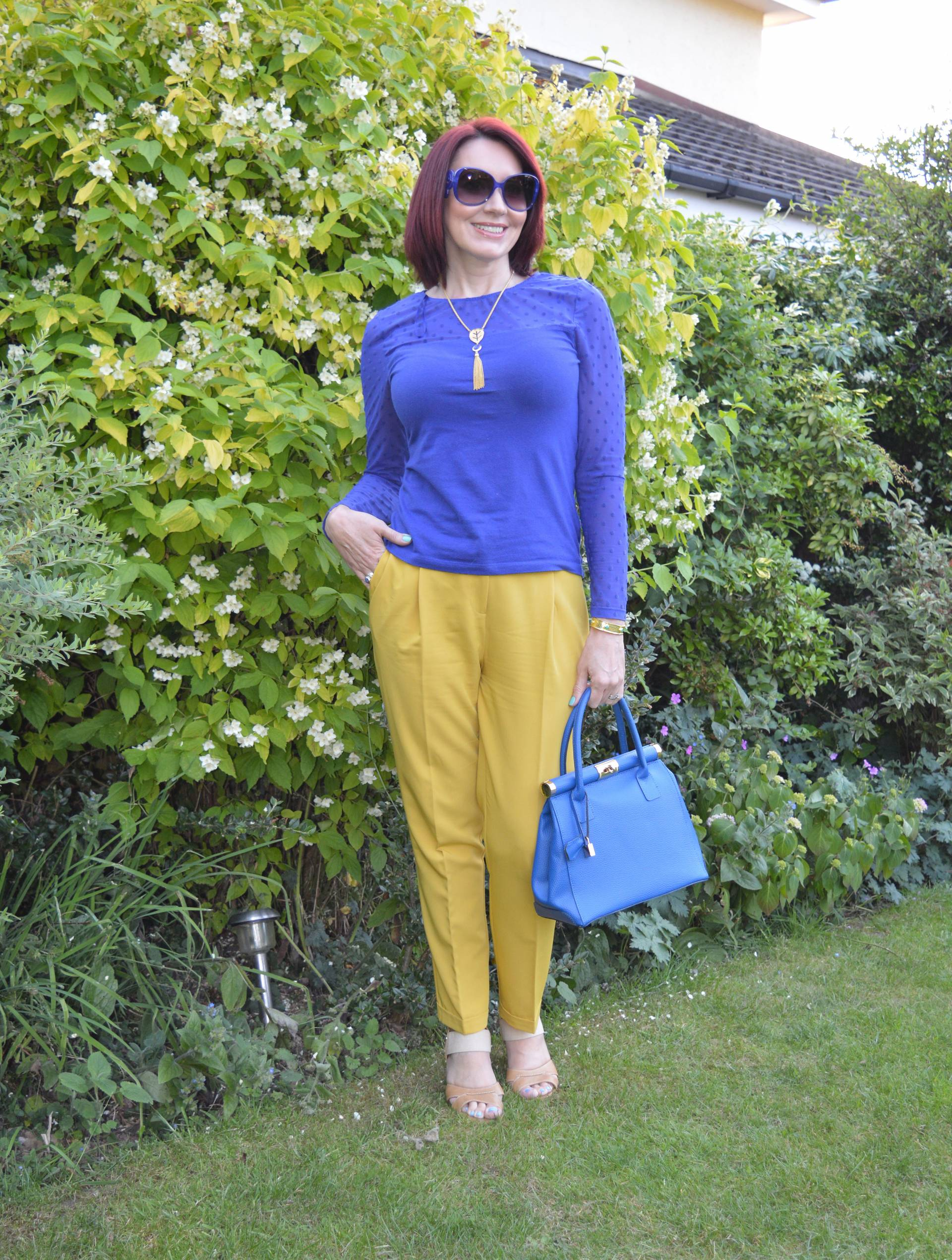 Mustard trousers and cobalt top + link up