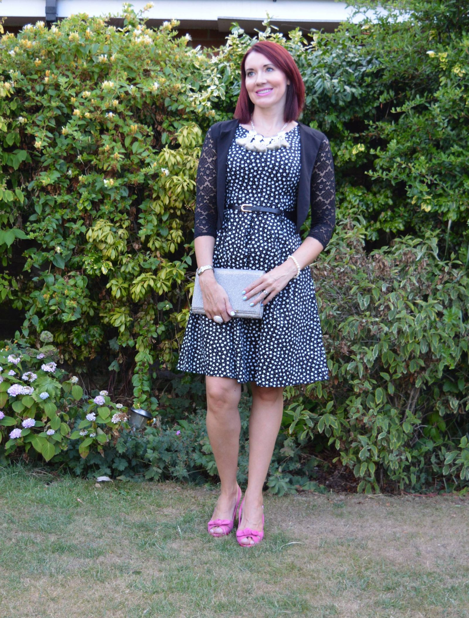 Ditsy print fit and flare dress with silver accessories