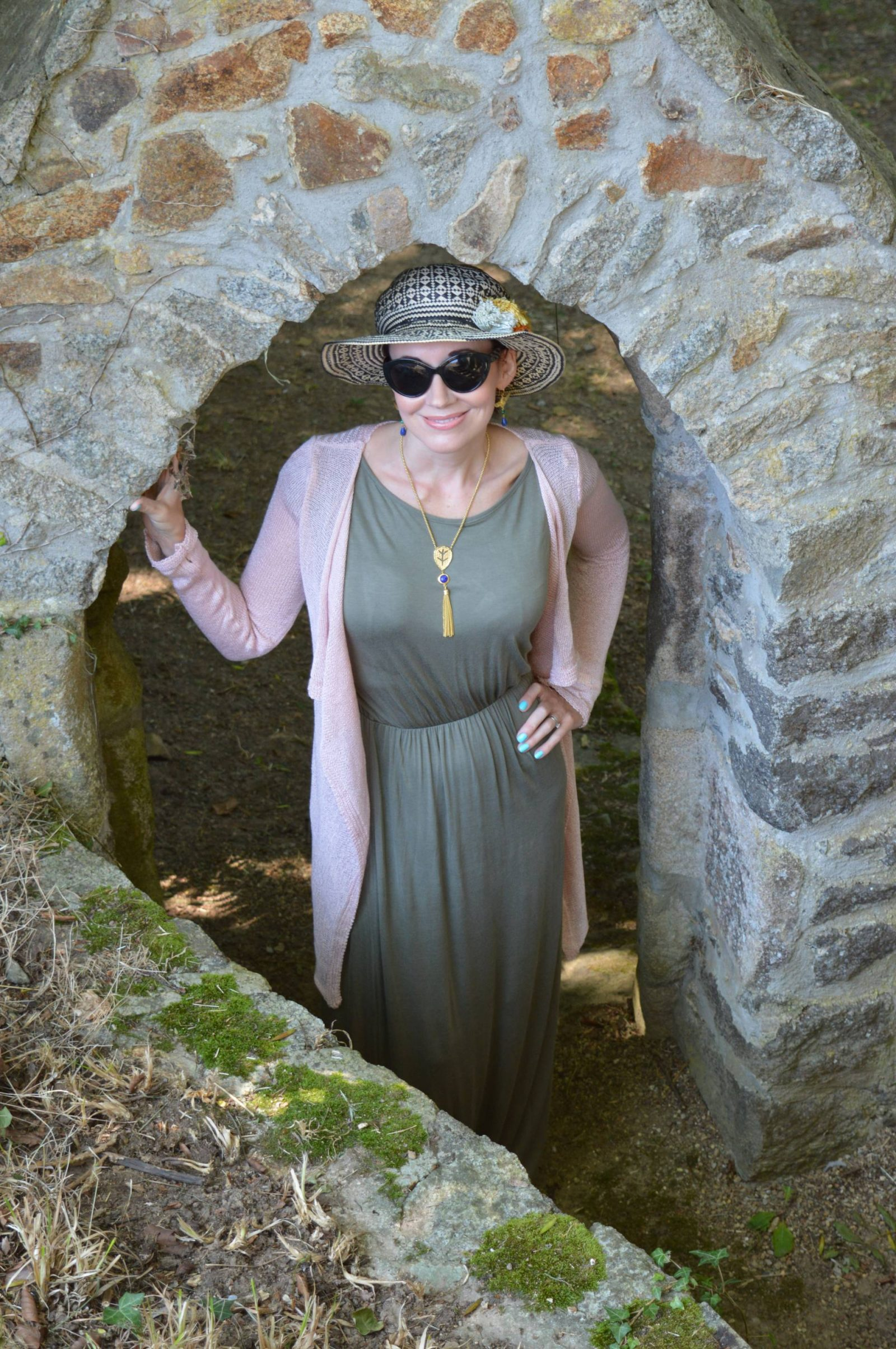 Khaki maxi dress and pink waterfall cardigan + link up
