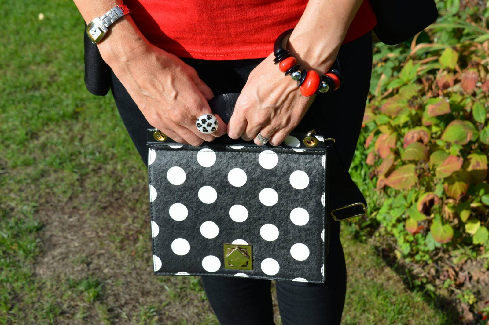 Dressing up jeans and a T-shirt, Boohoo T-shirt, Parisian flare hem skinny jeans, Zara polka dot bag, Marks and Spencer polka dot slingbacks