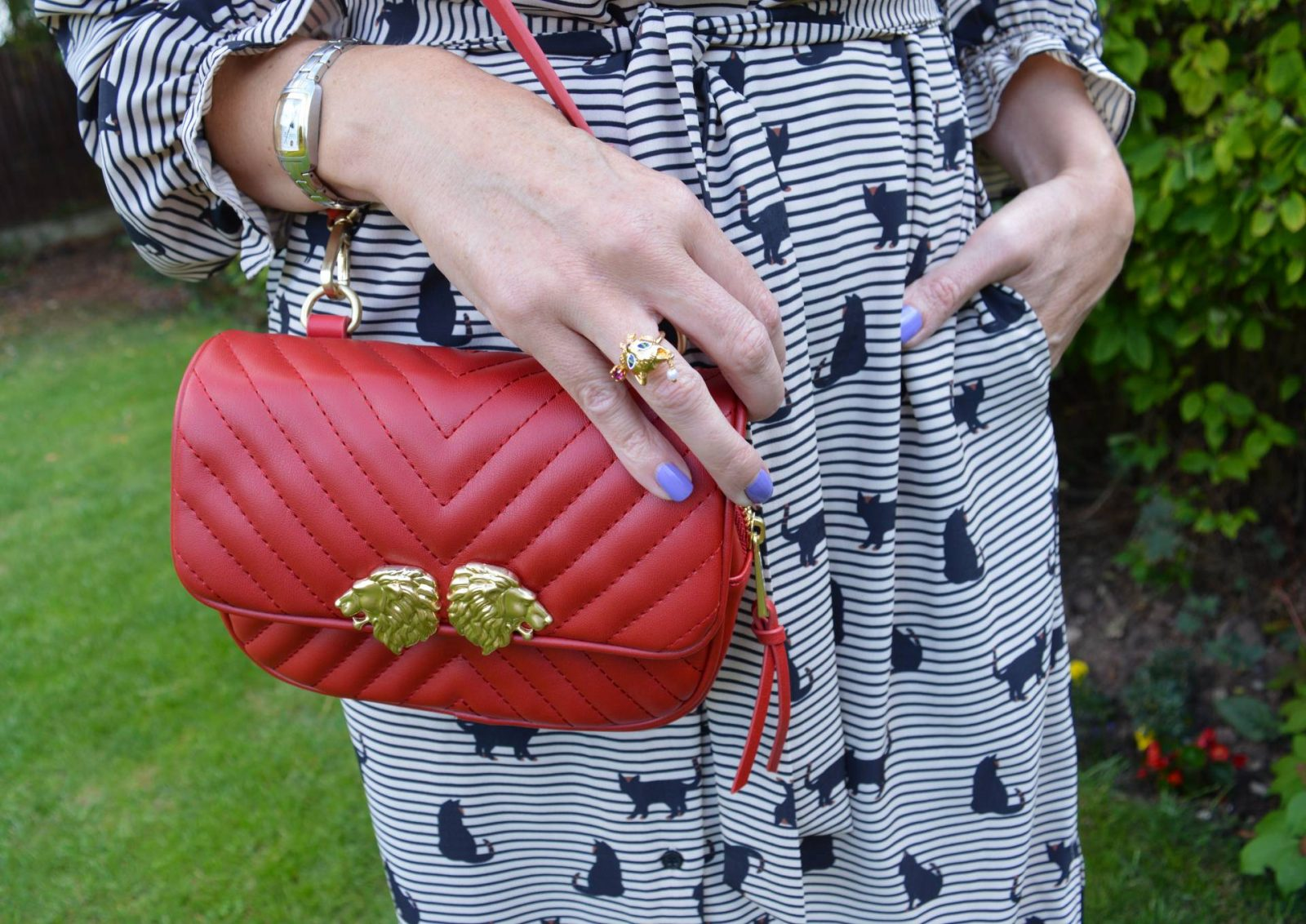 Cat print shirt dress with red accessories, Les Nereides cat ring, Zara red belt bag